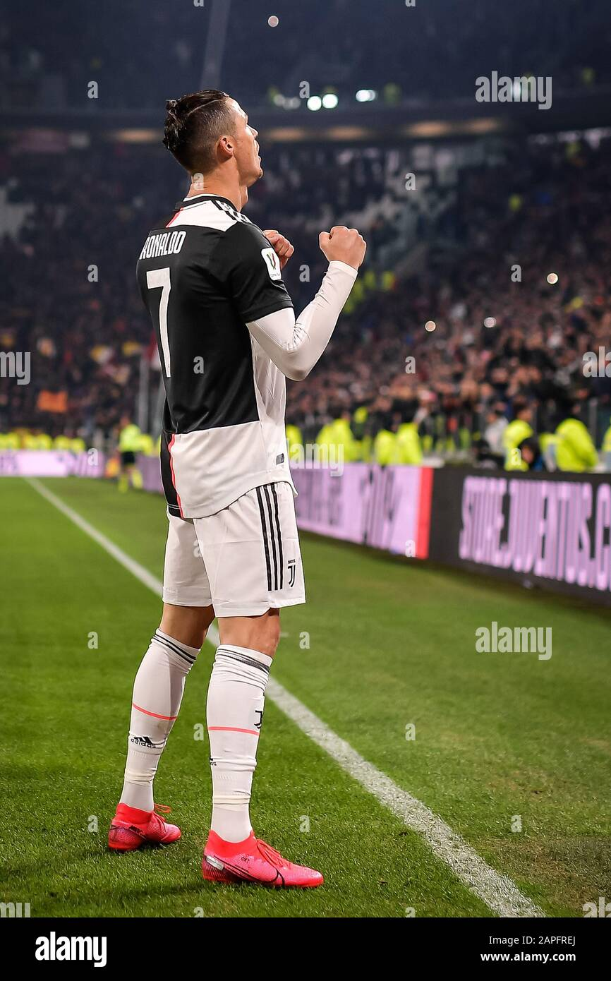 turin italy 22nd jan 2020 cristiano ronaldo of juventus fc celebrates after scoring a goal during https www alamy com turin italy 22nd jan 2020 cristiano ronaldo of juventus fc celebrates after scoring a goal during the italian cup match between juventus and roma at the juventus stadium turin italy on 22 january 2020 photo by remotephotopress credit uk sports pics ltdalamy live news image340867146 html
