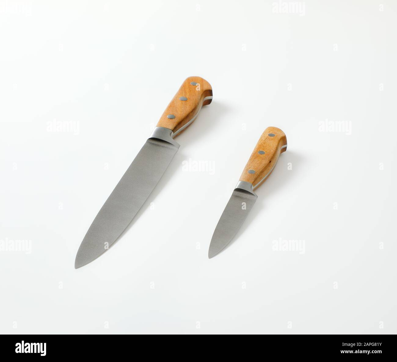 Set Of Two Sharp Pointed Tip Kitchen Knives Utility Knife And Paring Knife Stock Photo Alamy