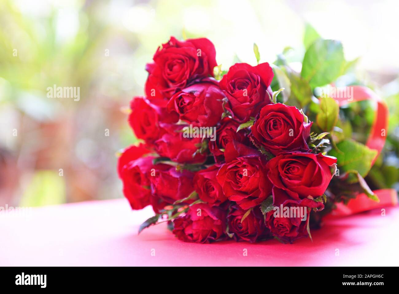 Natural Fresh Red Roses Flower Bouquet Nature Background Close Up Rose Flowers Romantic Love Valentine Day Concept Multicolored Flowers Bloom Stock Photo Alamy