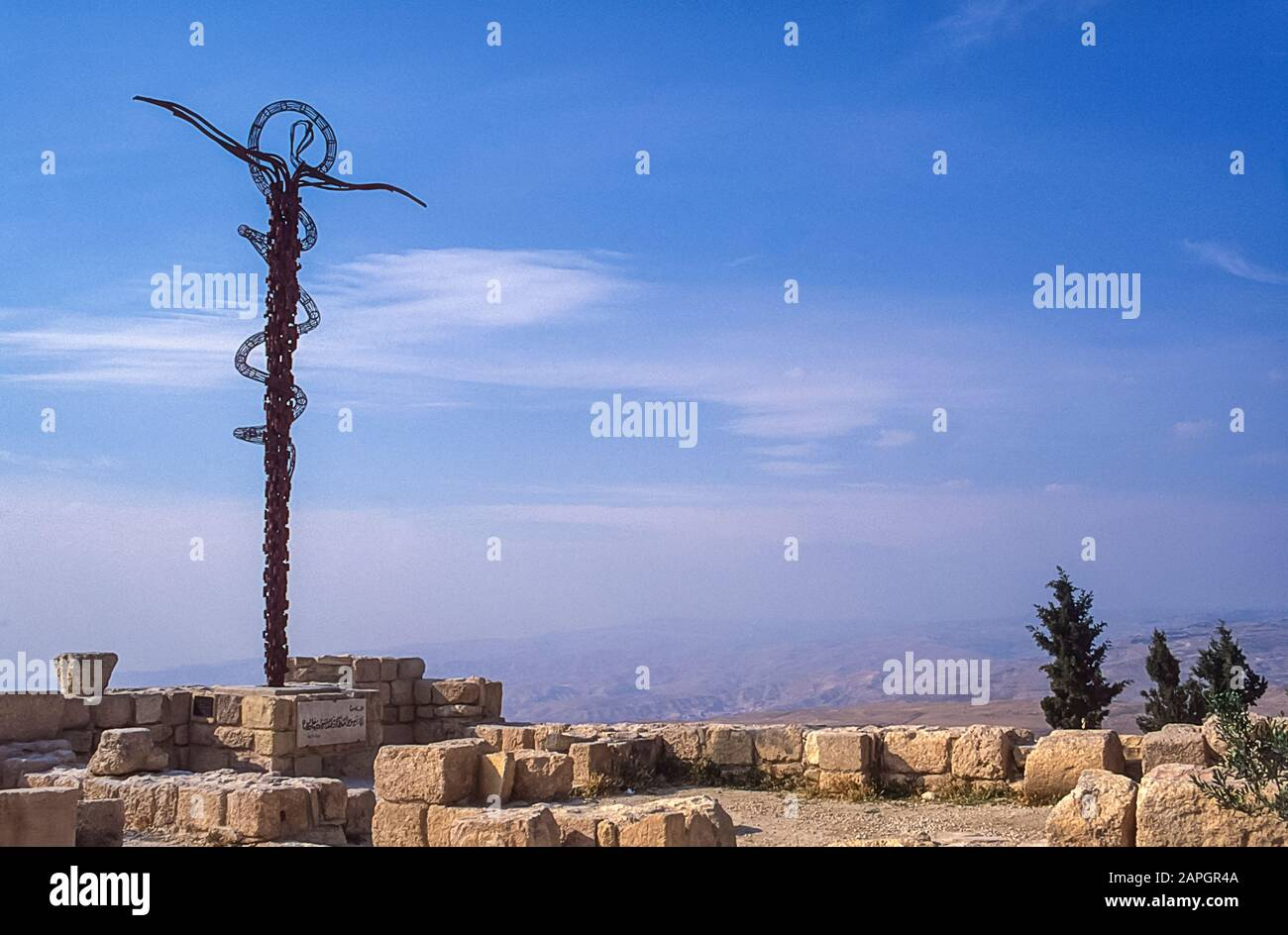 Jordan. Replica memorial of Moses Staff to the Prophet Moses who led the tribe of the Children of Israel through the Negev deserts and mountains  for 40 years until he reached Mount Nebo at the present day north Jordan town of Madaba from where he declared having found the Promised Land of the River Jordan. Stock Photo