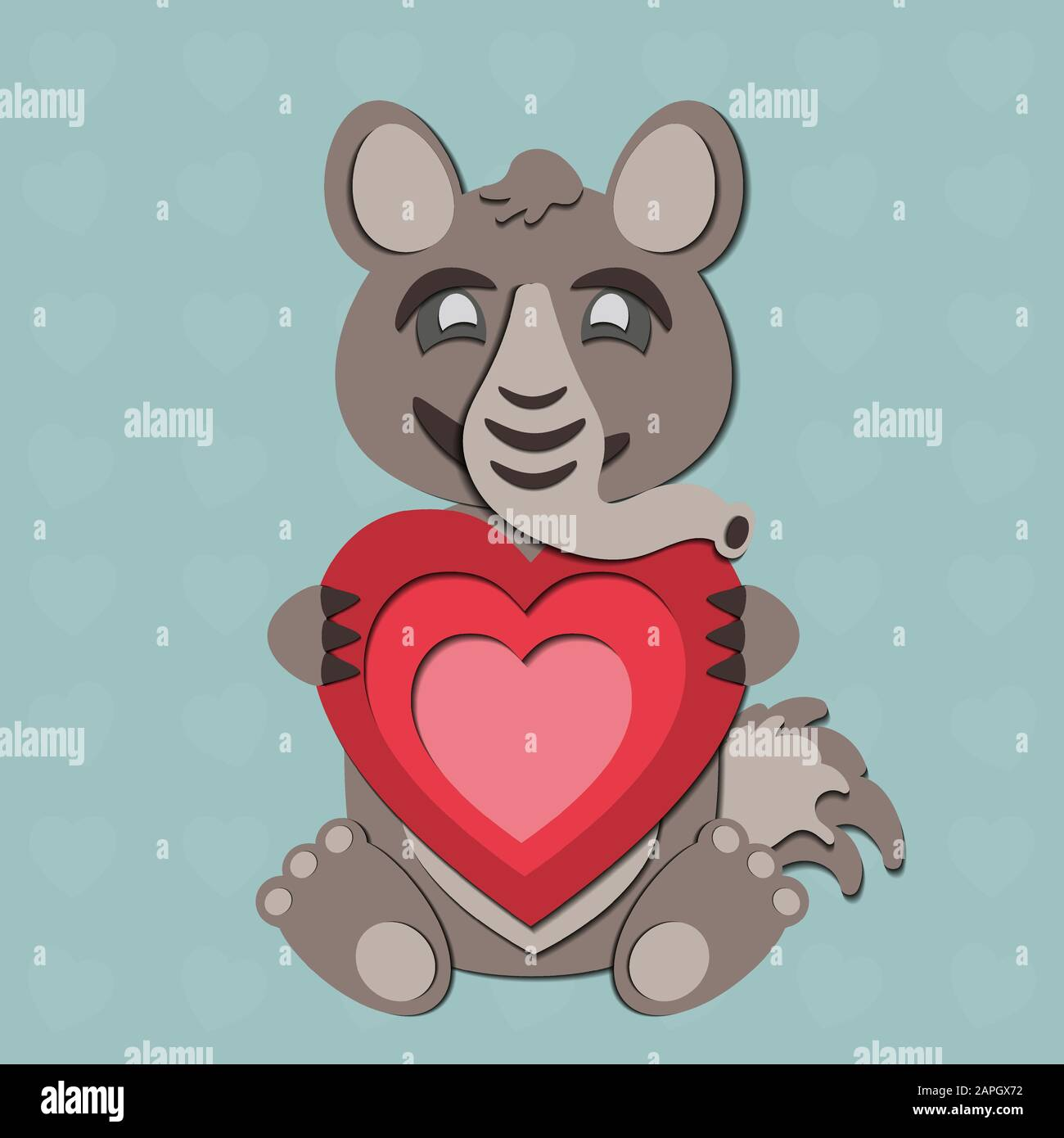 A Valentine S Day Vector Drawing Of A Cute Paper Cut Out Anteater Holding A Red Heart In Its Paws The Animal Is Gray Brown On A Blue Background Stock Vector Image Art