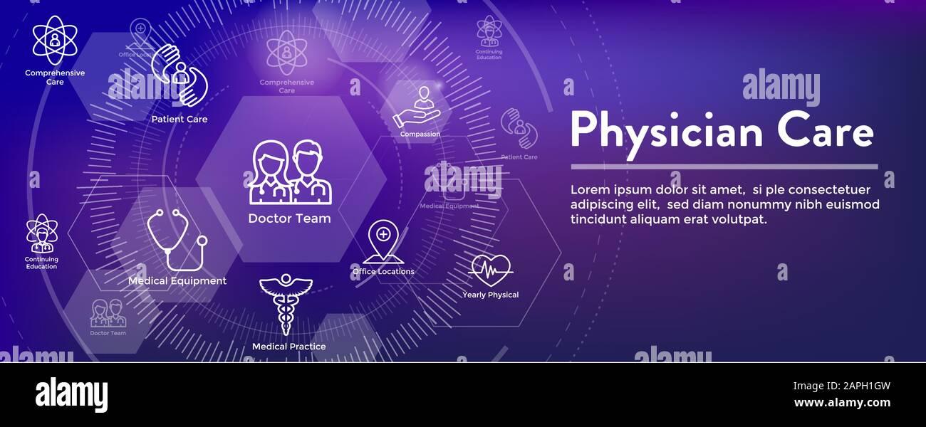 Physician Care Icon Set & Web Header Banner Stock Vector