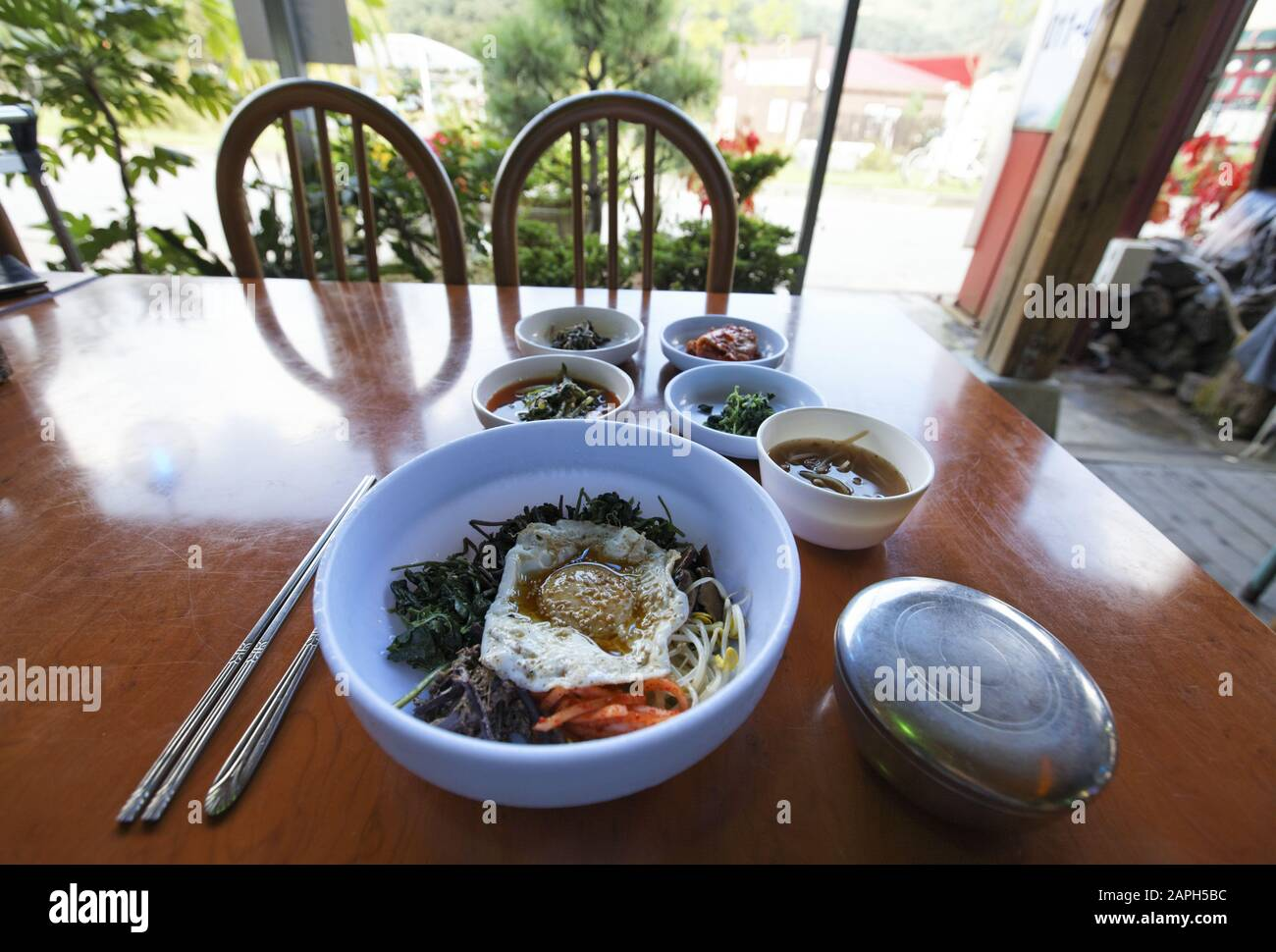 sanchae bibimbap at a local restaurant in Korea Stock Photo