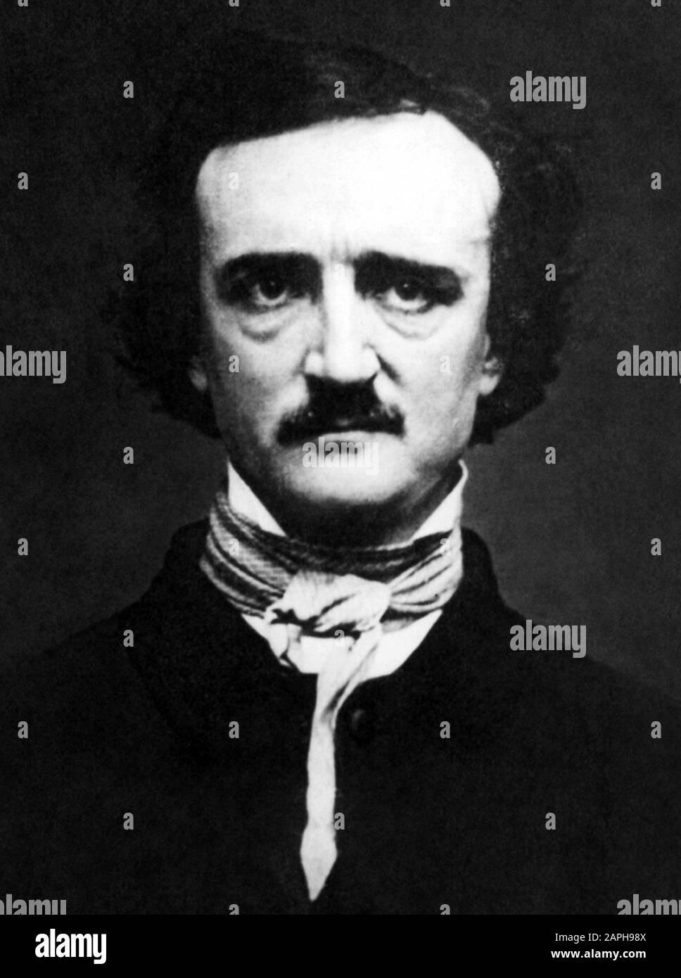 Vintage portrait photo of American writer, poet, editor and literary critic Edgar Allan Poe (1809 – 1849). Daguerreotype photo circa 1848 by W S Hartshorn. Stock Photo