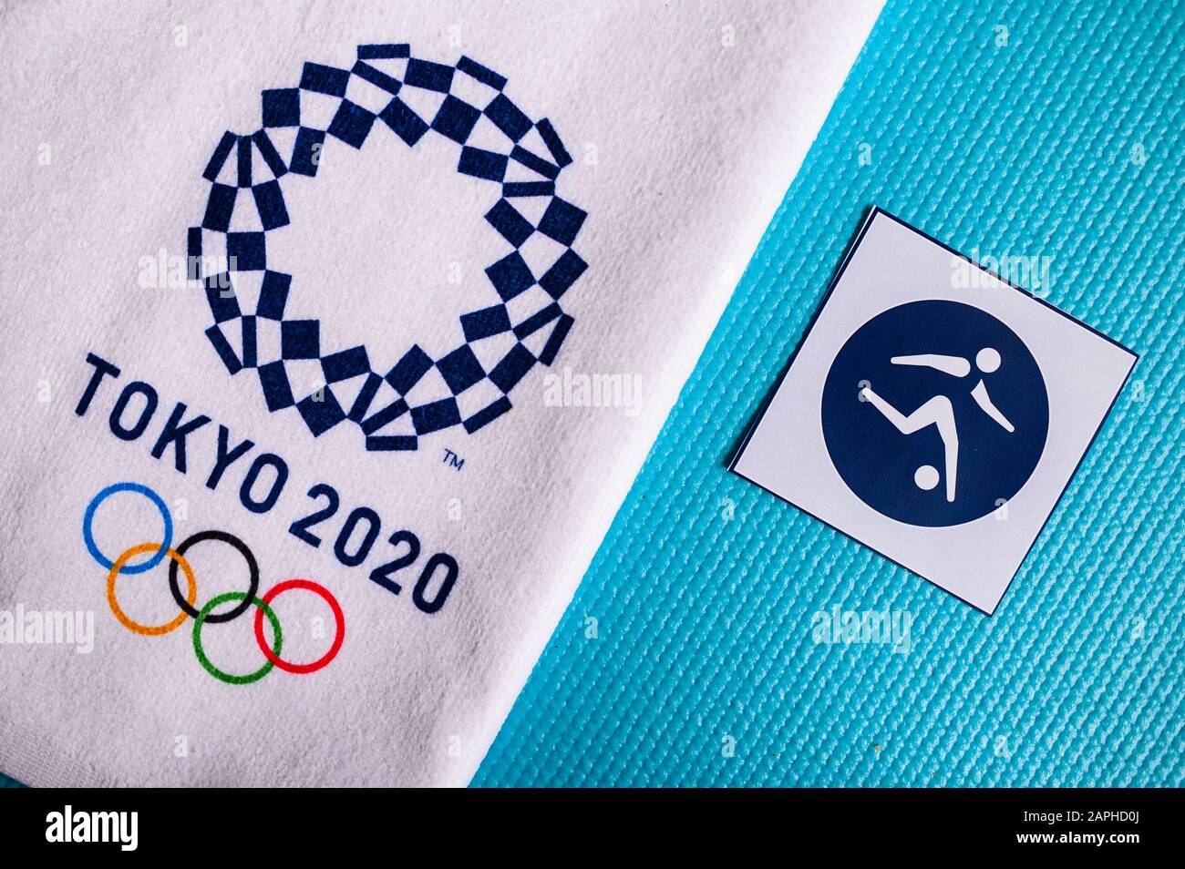 Tokyo Japan January 20 2020 Football Pictogram For Summer Olympic Game Tokyo 2020 Stock Photo Alamy