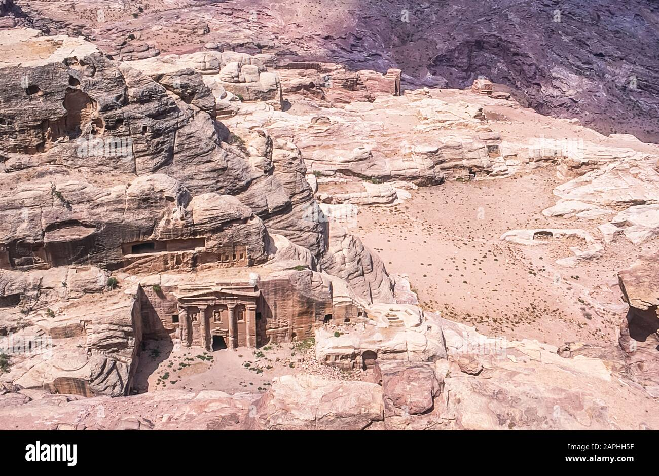 Jordan. Aerial view of the Roman Centurion burial temple at the World famous UNESCO World Heritage Site of the Nabatean and Roman ruins and relics at the desert town of Petra much used as a motion picture film set such as Indiana Jones Temple of Doom, now a very popular tourist attraction Stock Photo
