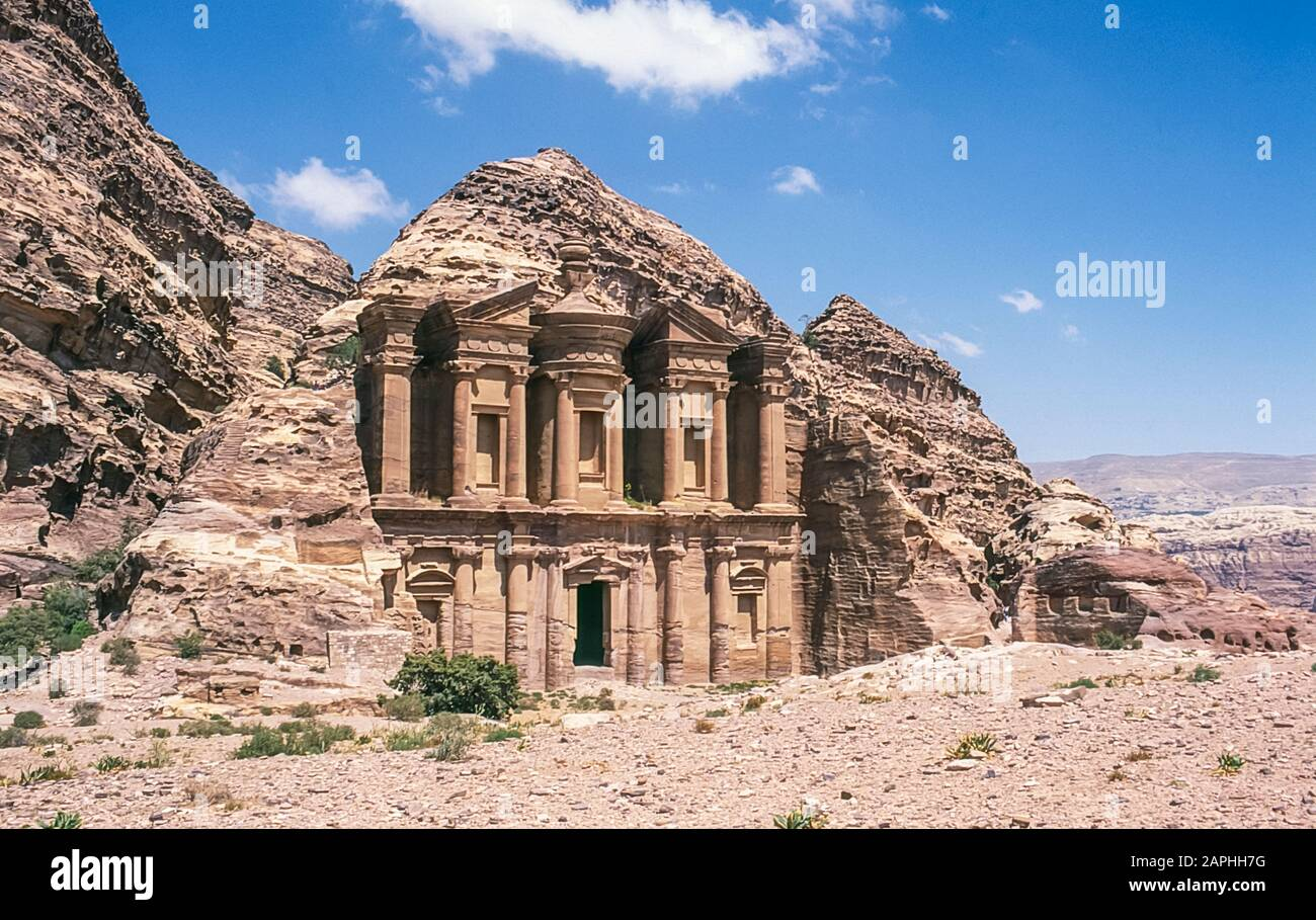 Jordan. The Monastery Building at the World famous UNESCO World Heritage Site of the Nabatean and Roman ruins and relics at the desert town of Petra much used as a motion picture film set such as Indiana Jones Temple of Doom, now a very popular tourist attraction Stock Photo