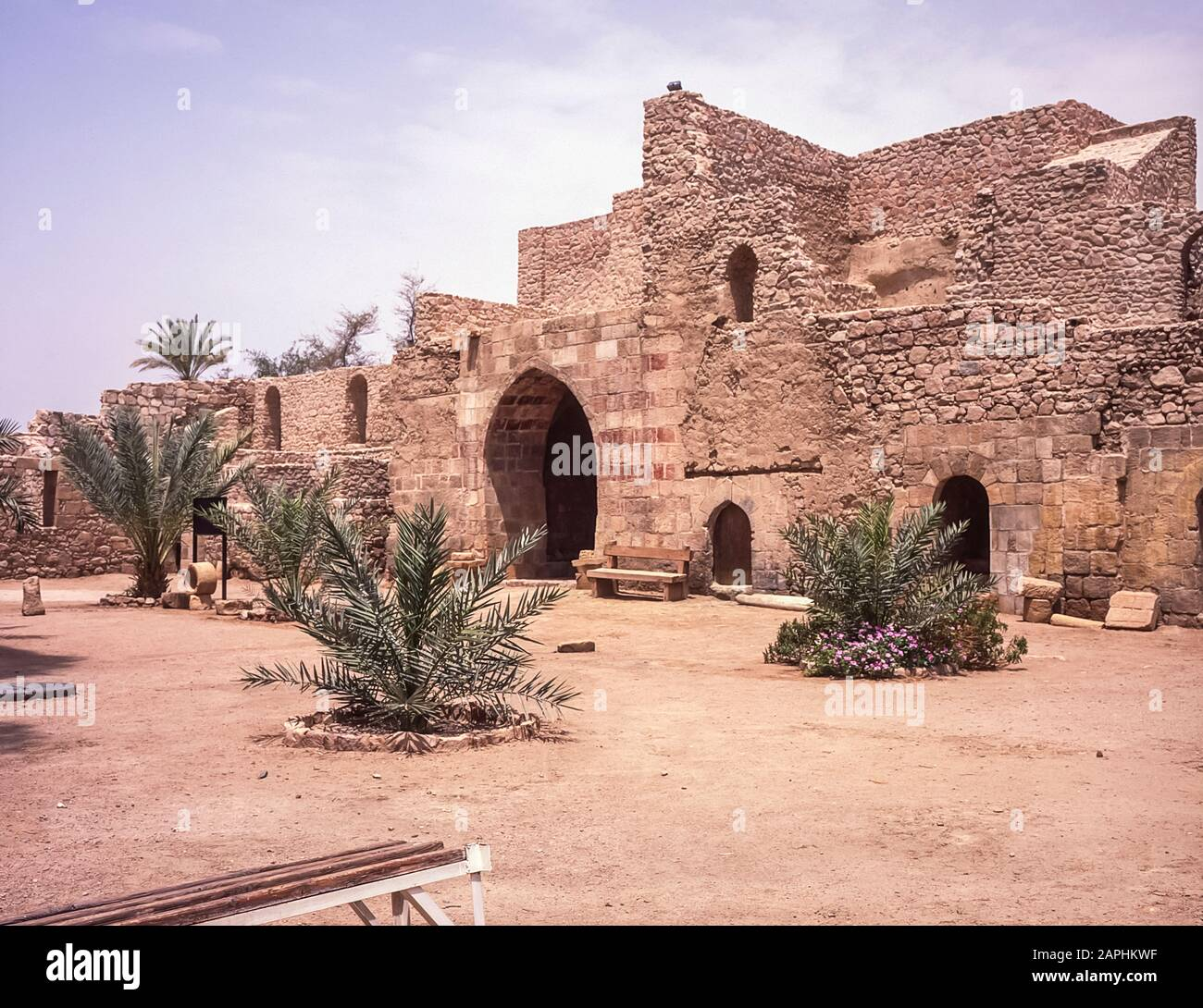 The Hashemite Kingdom of Jordan in the Middle East as it was in 1998. Jordan. The interior courtyard at the ruins of Aqaba Fortress at the Red Sea port of Aqaba originally being garrisoned by Turkish soldiers of the Ottoman Empire then being overthrown by the Arab tribes during the First World War led by T.E.Lawrence  better known as Lawrence of Arabia. Stock Photo