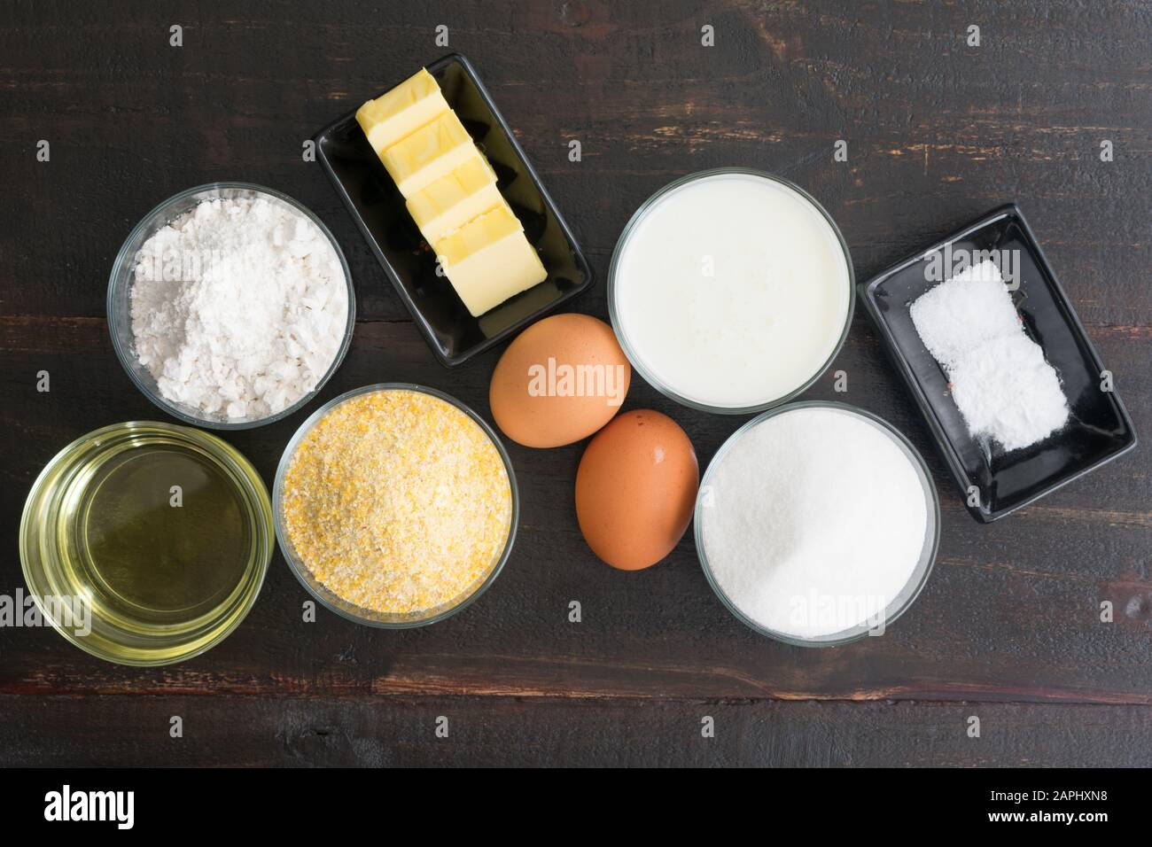 Southern Buttermilk Cornbread Ingredients: Cornmeal, eggs, and other ingredients used to make a traditional Southern dish Stock Photo