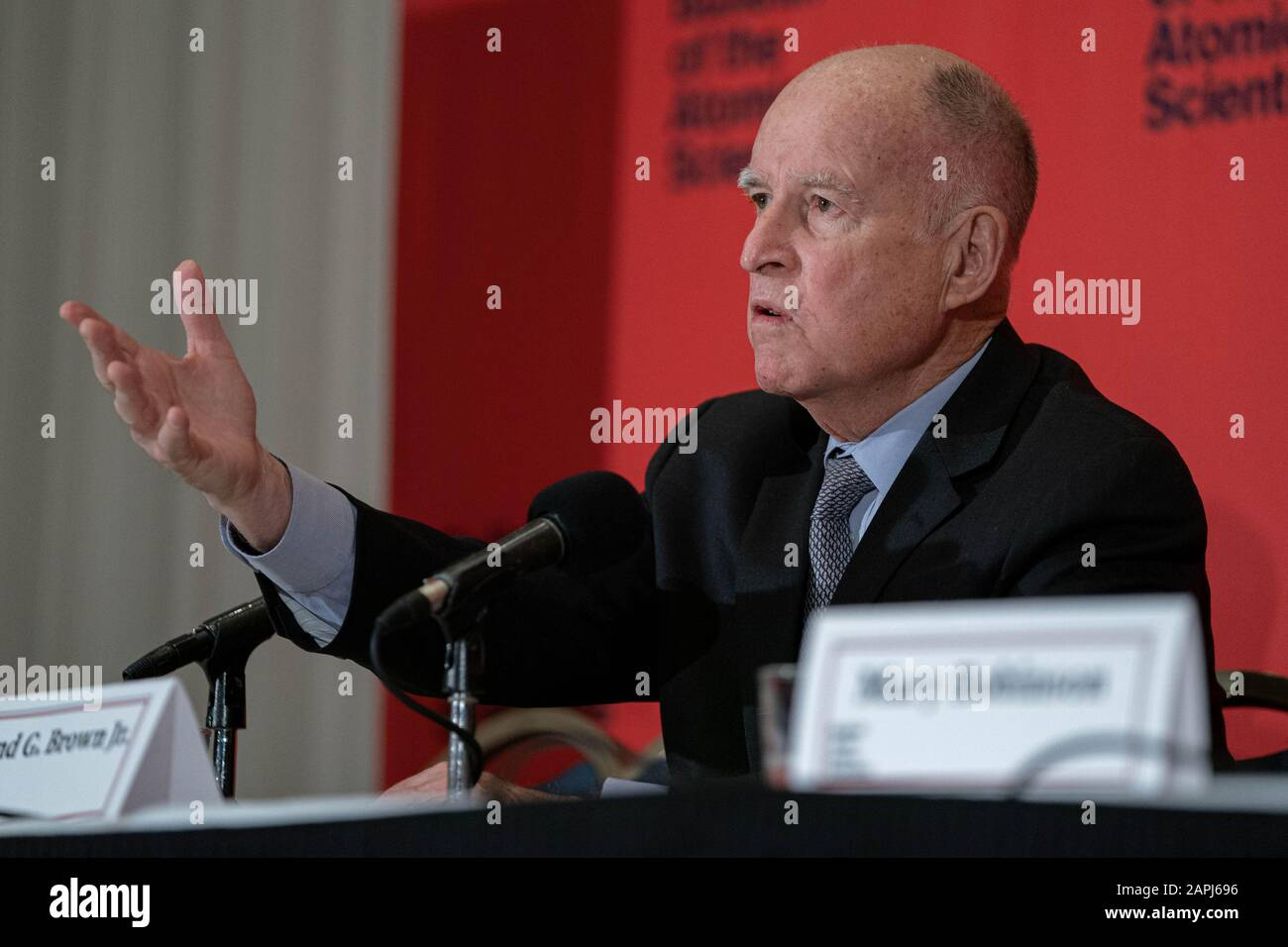 Washington United States 23rd Jan 2020 Executive Chair Bulletin Of The Atomic Scientists Former Governor State Of California Jerry Brown Speaks On A Panel About The Doomsday Clock At The National Press