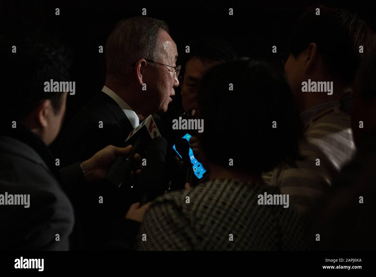 Washington United States 23rd Jan 2020 Deputy Chair The Elders Former Un Secretary General Former South Korean Foreign Minister Ban Ki Moon Speaks To The Press Following A Panel Discussion On The Doomsday Clock