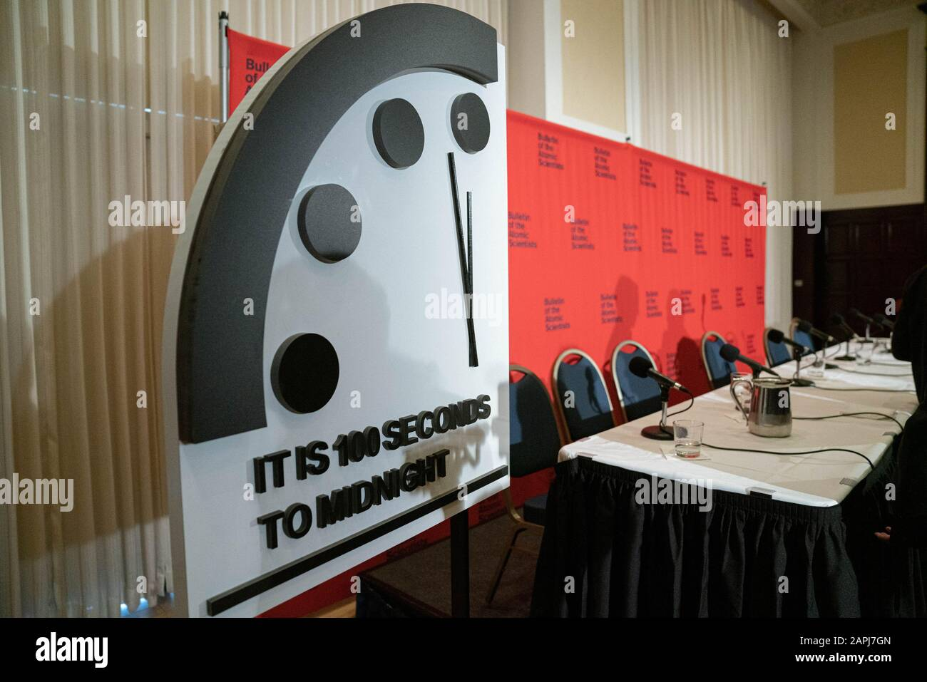 Washington United States 23rd Jan 2020 The Doomsday Clock Is Seen At The National Press Club Following A Panel Discussion In Washington Dc On Thursday January 23 2020 Bulletin Of The Atomic
