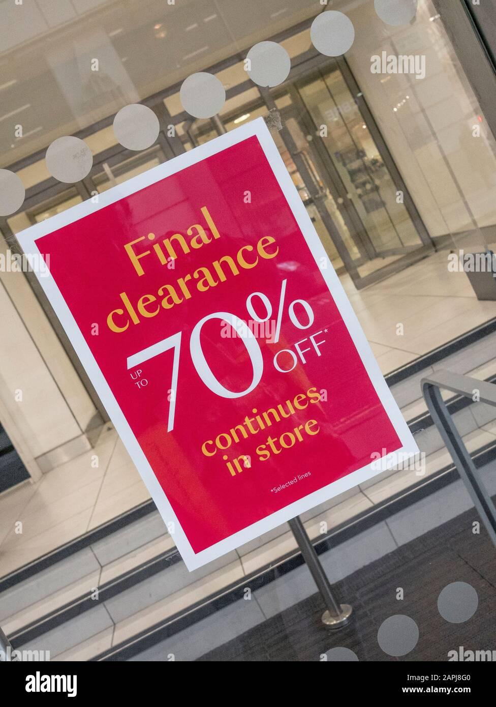 Debenhams Final Clearance / 70% off sale sign (Jan. 2020). Metaphor for high street crisis, Debenhams retail crisis, death of the high street. Stock Photo