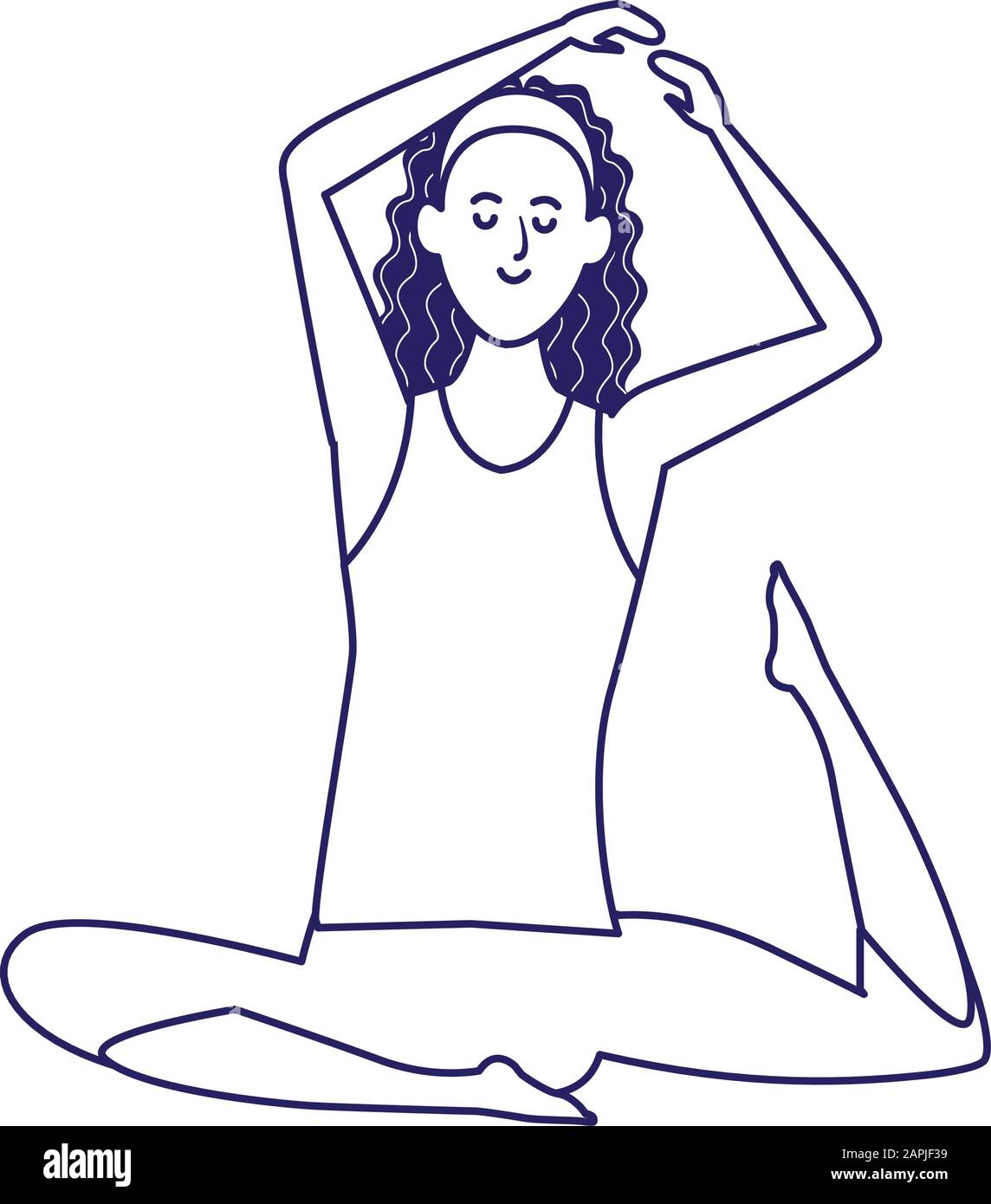 Cartoon Girl Practicing Yoga Icon Flat Design Stock Vector Image Art Alamy