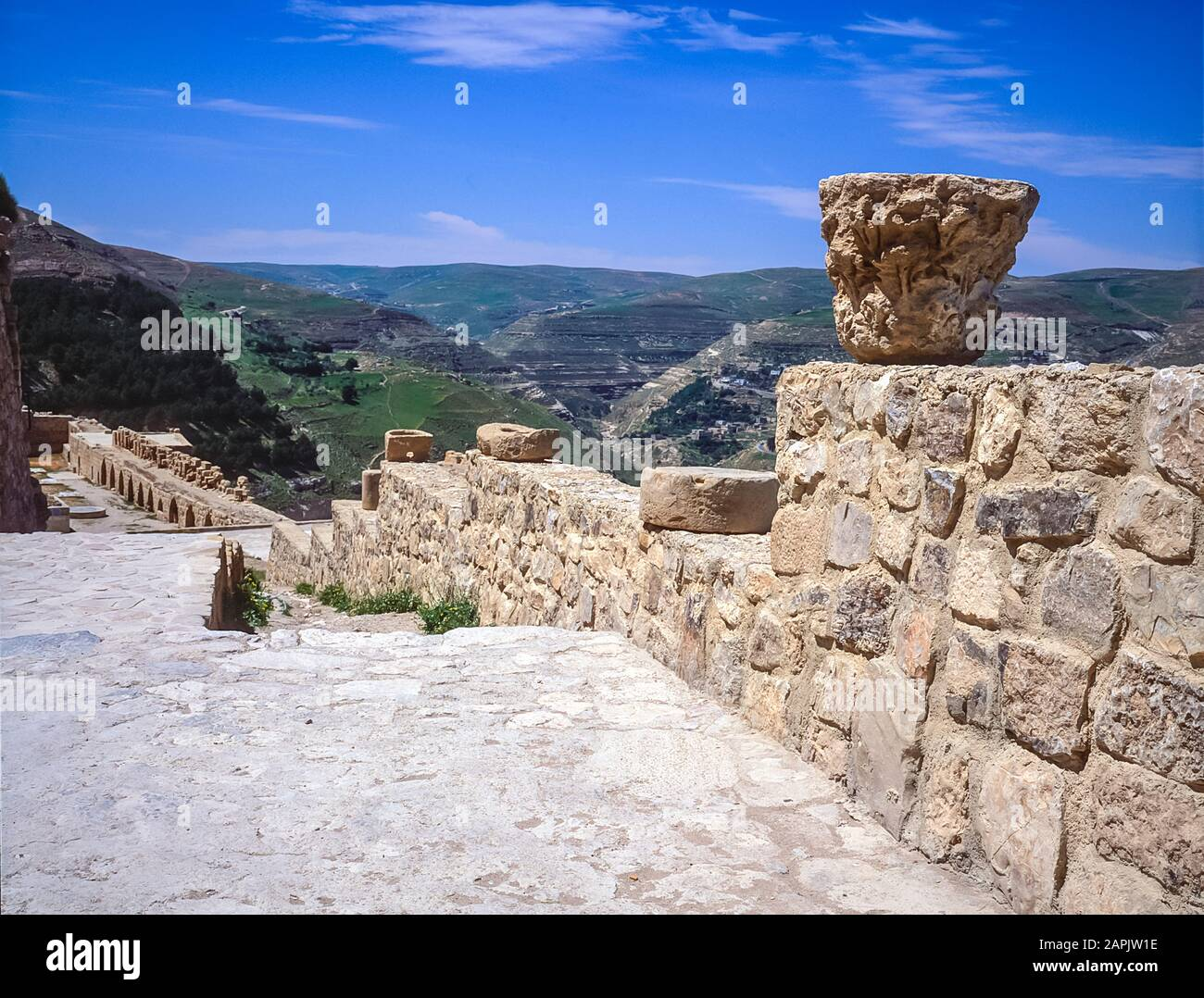 Jordan. The remains and ruins of what remains of the once mighty 12th century Qasr Al Kerak Crusader Fortress at Kerak and overlook of the adjacent countryside Stock Photo
