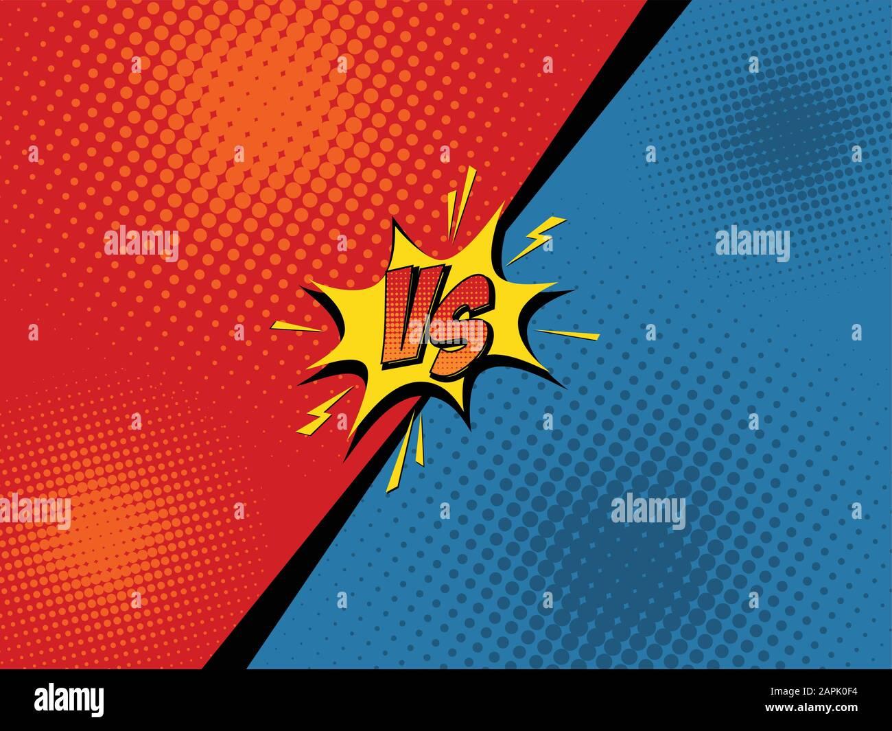Comics Fight Background Versus Battle Cartoon Vector Illustration Stock Vector Image Art Alamy