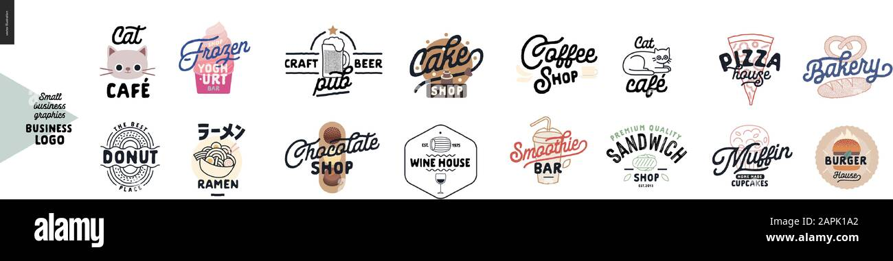 Logo Cafe And Restaurants Cat Cafe Frozen Yoghurt Bar Donut Ramen Craft Beer Pub Cake Chocolate Wine House Coffee Shop Smoothie Bar Sandw Stock Vector Image Art Alamy