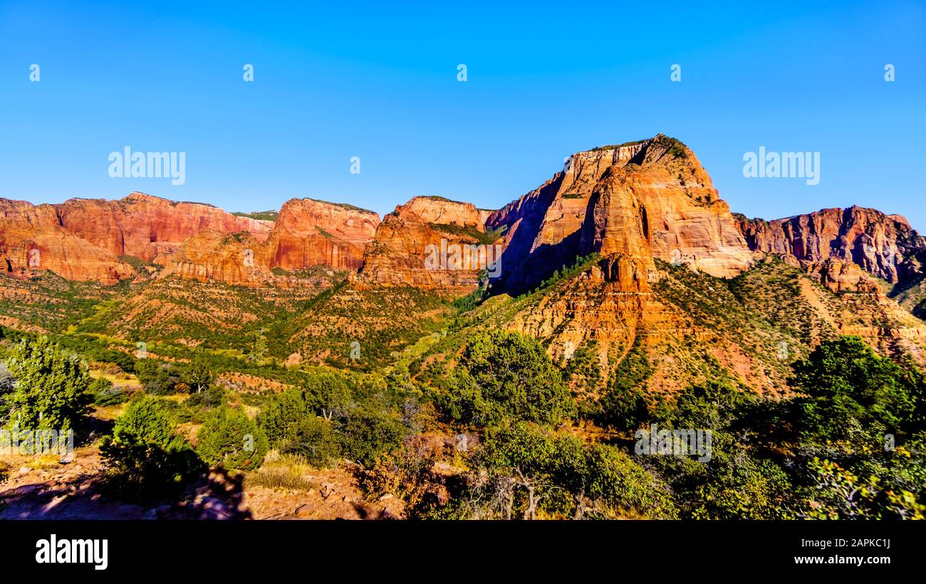 View of Nagunt Mesa, Shuntavi Butte and other Red Rock Peaks in Kolob Canyon, Zion National Park, Utah, US. Viewed from the Timber Creek Overlook Stock Photo