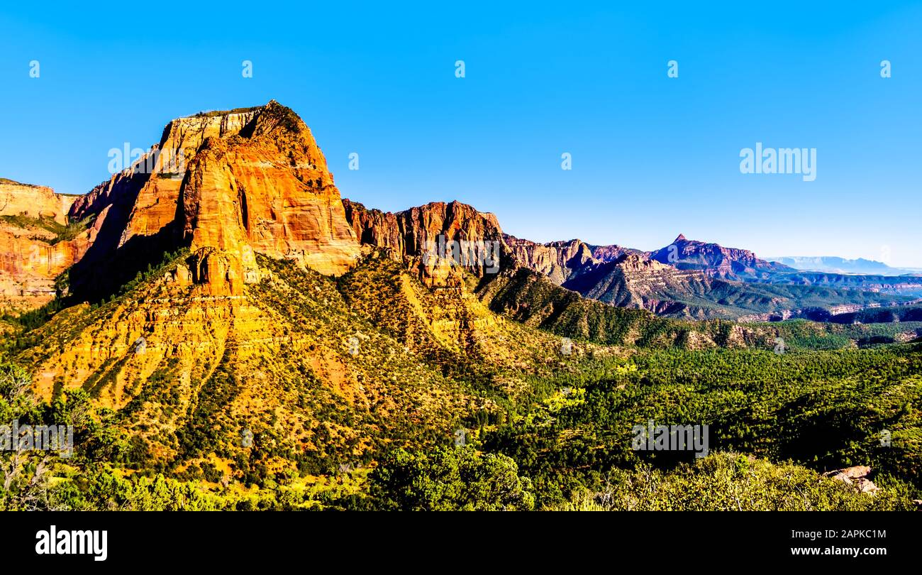 View of the Shuntavi Butte and other Red Rock Peaks of the Kolob Canyon part of Zion National Park, Utah, US. Viewed from the Timber Creek Lookout Stock Photo
