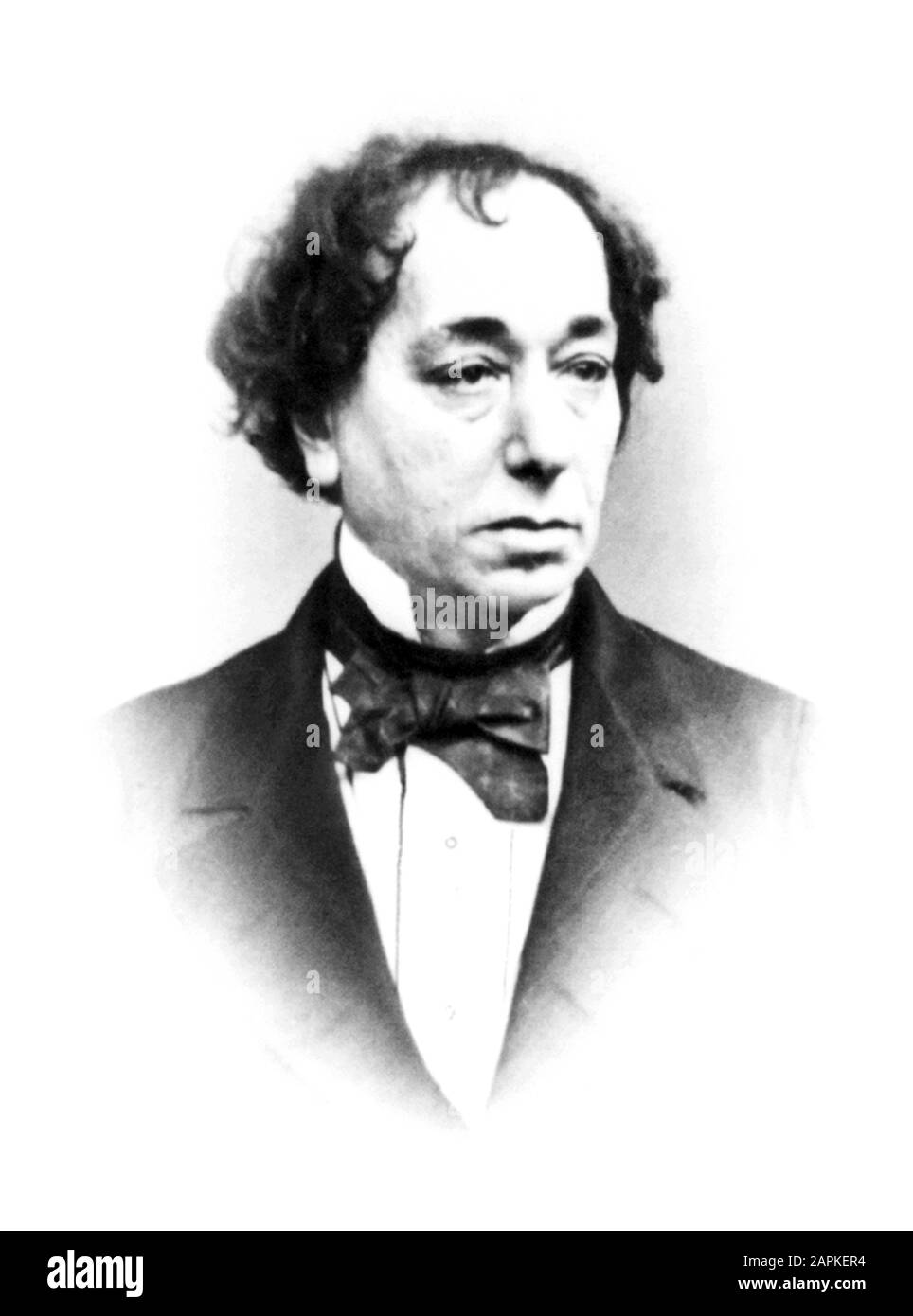 Vintage portrait photo of Benjamin Disraeli, 1st Earl of Beaconsfield (1804 – 1881) – the British Conservative politician who twice served as Prime Minister of the United Kingdom (1868 and 1874 – 1880). Photo circa 1865 by William Edward Kilburn / Henry Lenthall. Stock Photo