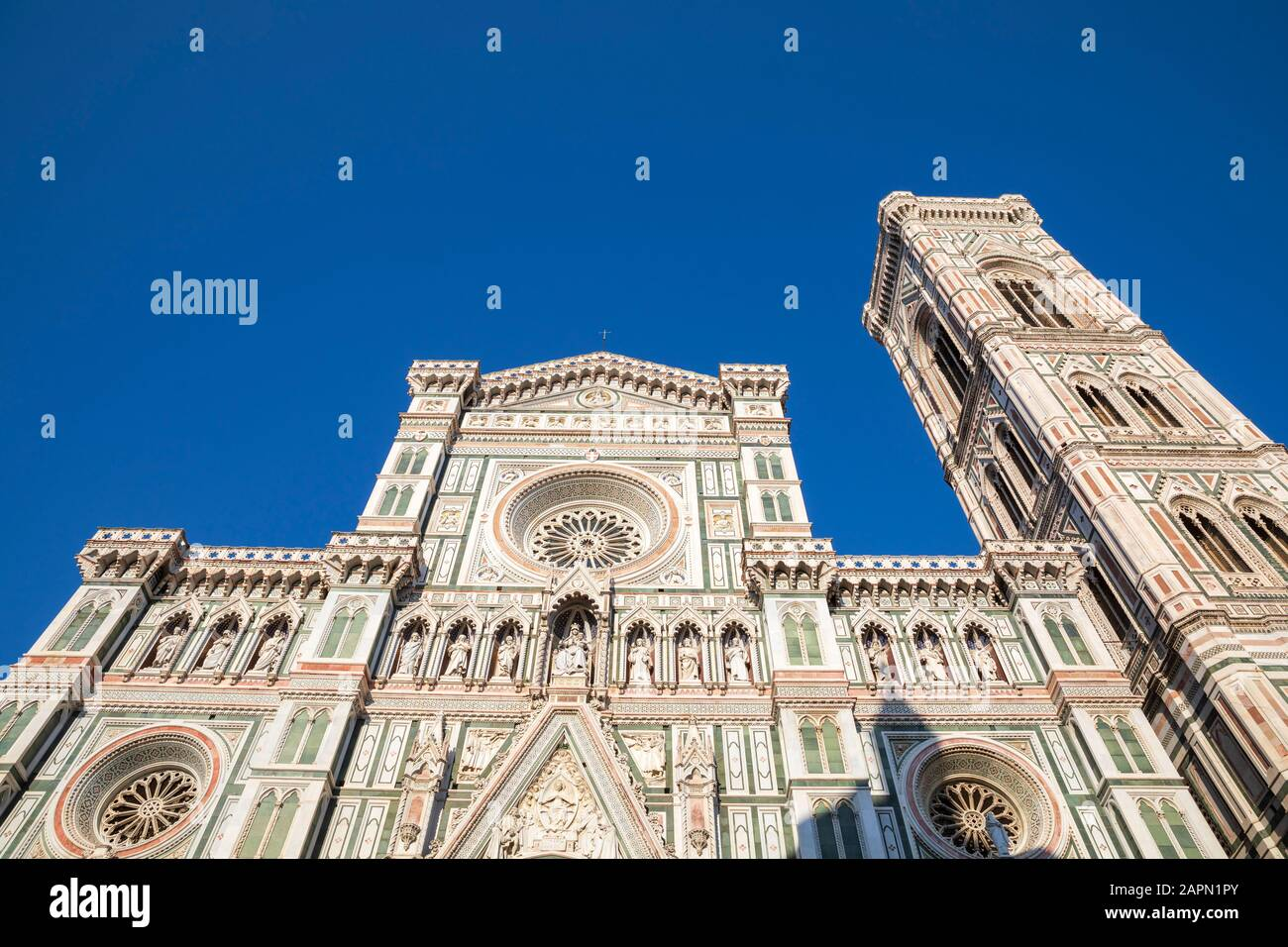 Florence Cathedral & Bell Tower (Campanile) as seen from Piazza del Duomo, Florence, Italy. Stock Photo