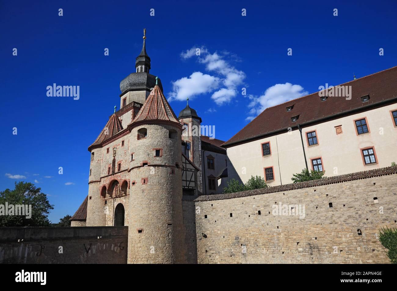 gate Scherenbergtor and tower Kiliansturm, fortress Marienberg, Würzburg, Wuerzburg, Lower Franconia , Bavaria, Germany Stock Photo
