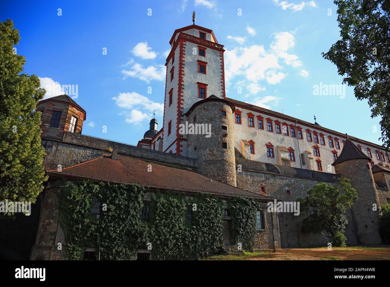 tower Marienturm, fortress Marienberg, Würzburg, Wuerzburg, Lower Franconia , Bavaria, Germany Stock Photo