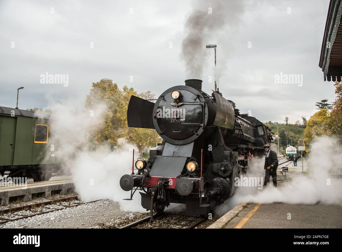 Nova Gorica, Slovenia, November 4, 2017: A 1944 German Henschel & Son steam engine  waits at the Nova Gorica train station before returning to Ljubljana on a hundred-year-old Bohinj railway line (Transalpina) that was built from 1900 to 1906 as the shortest connection of the Austro-Hungarian Empire with the Adriatic Sea in Trieste (Italy). Stock Photo