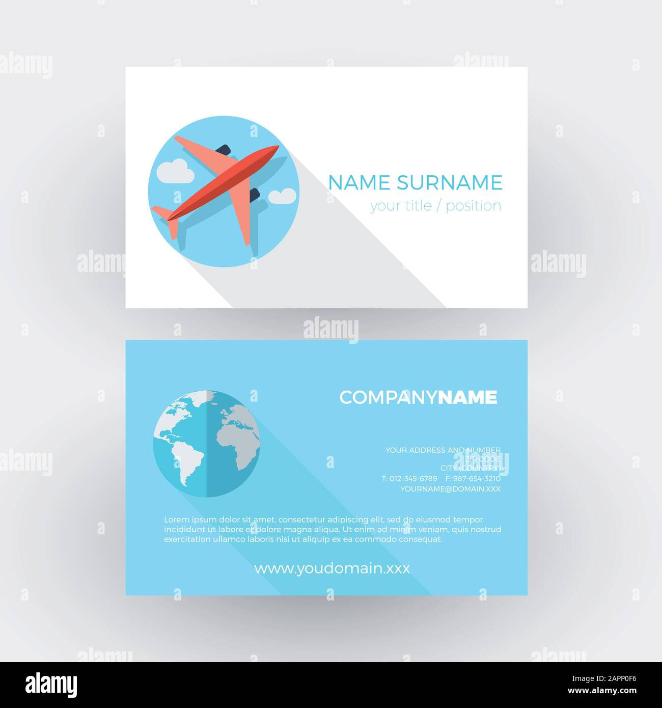 airplane in the sky,travel agency. vector professional business card Stock Vector