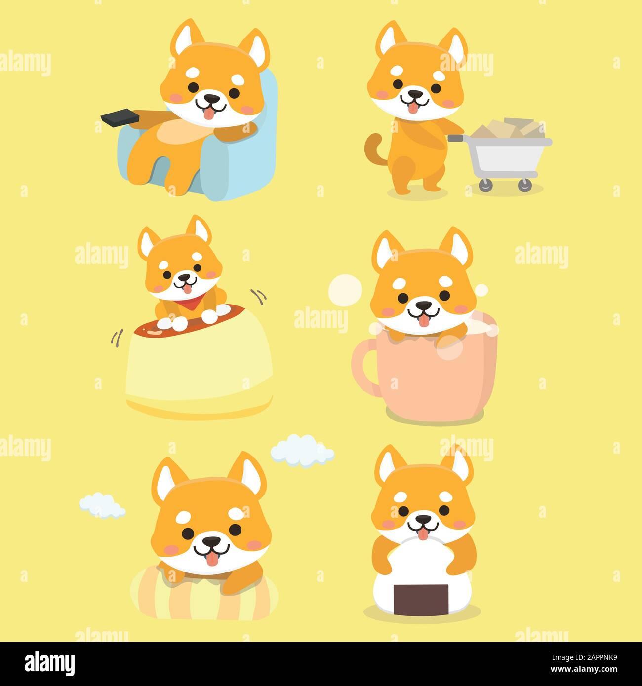 Shiba Inu Dog Cartoon Set Vector Stock Vector Image Art Alamy