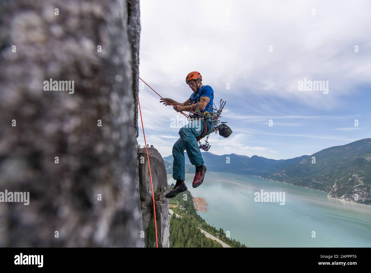 Trad climbing, Stawamus Chief, Squamish, British Columbia, Canada Stock Photo