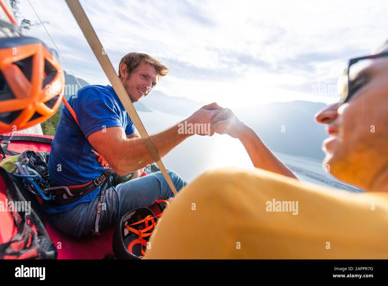 Big wall climbing with portaledge, Squamish, British Columbia, Canada Stock Photo