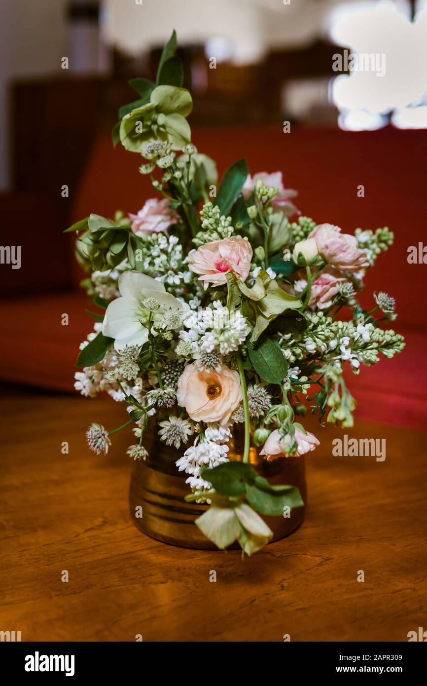 Small Bouquet Of Flowers On A Retro Vintage Wooden Table Stock Photo Alamy