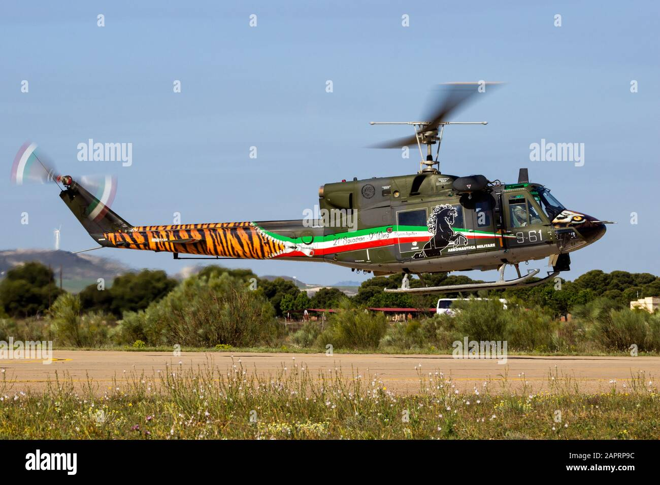 ZARAGOZA, SPAIN - MAY 20,2016: Special painted Italian Air Force Agusta Bell AB-212 military helicopter from 21 Gruppo landing on Zaragoza airbase Stock Photo