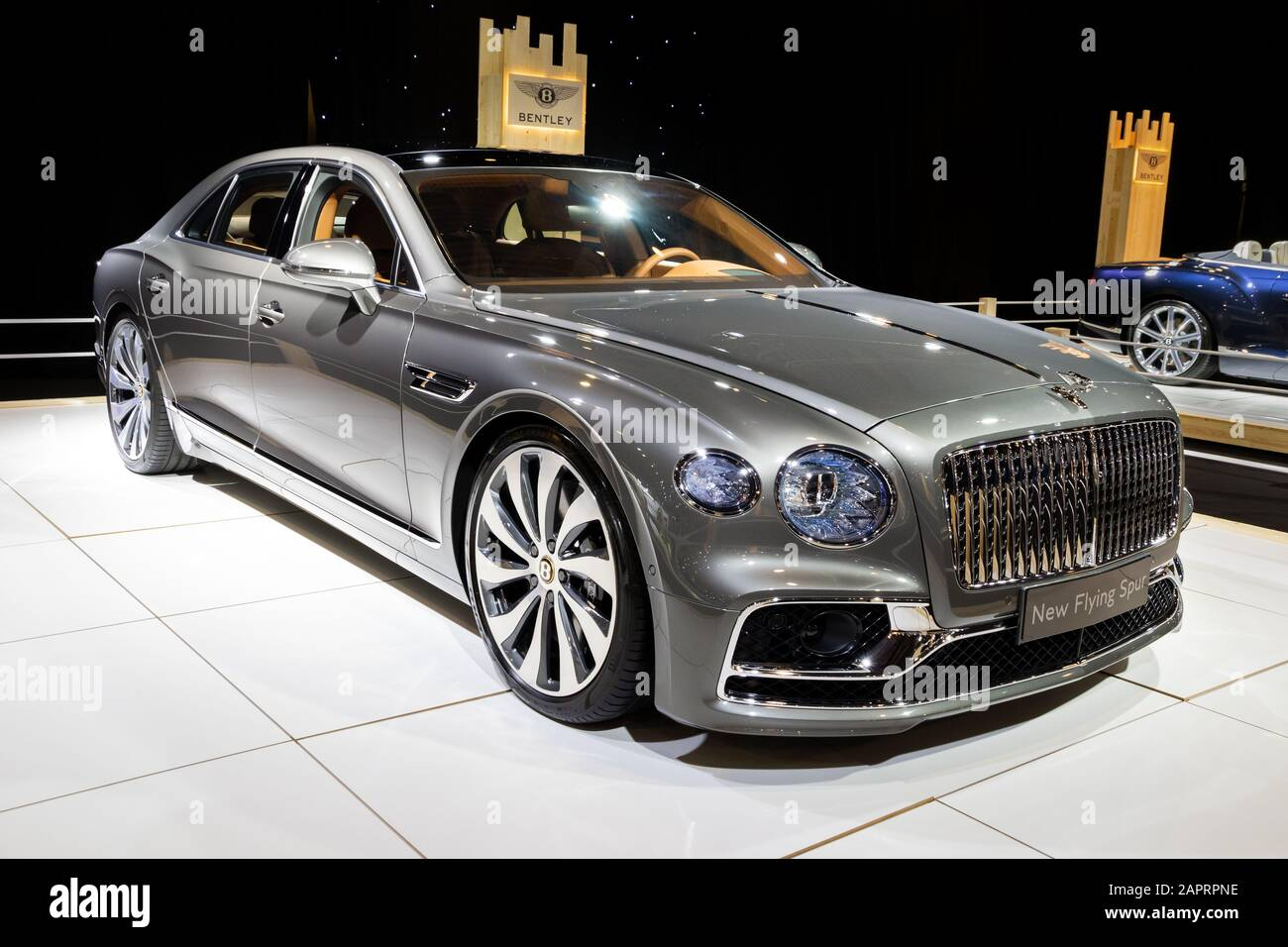 Brussels Jan 9 2020 New Bentley Flying Spur Luxury Car Model Showcased At The Brussels Autosalon 2020 Motor Show Stock Photo Alamy