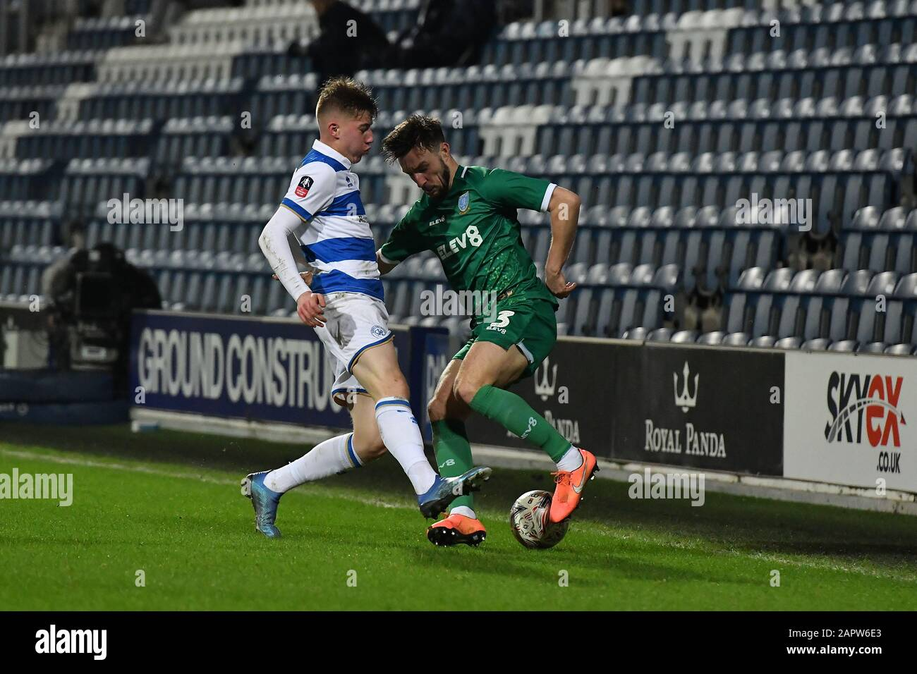 London, UK. 24th Jan 2020. during the FA Cup 4th Round match between Queens Park Rangers and Sheffield Wednesday at Kiyan Prince Foundation Stadium, London on Friday 24th January 2020. (Credit: Ivan Yordanov   MI News)Photograph may only be used for newspaper and/or magazine editorial purposes, license required for commercial use Credit: MI News & Sport /Alamy Live News Stock Photo