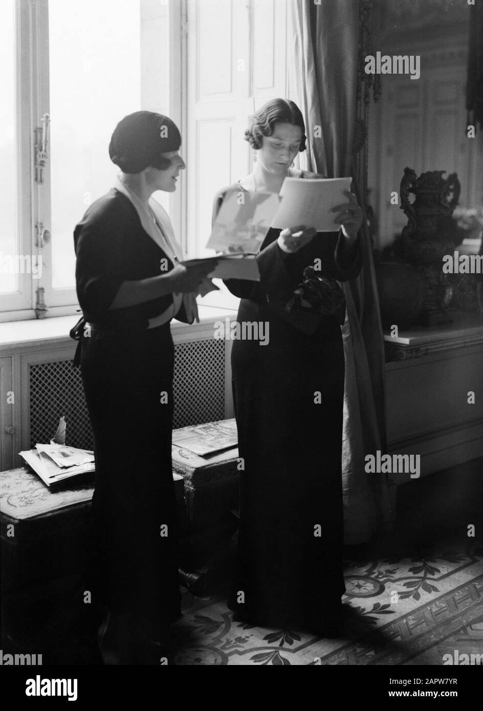 Royal Family Belgium  Queen Astrid of Belgium with an assistant Date: undated Location: Brussels Keywords: queens Personal name: Queen Astrid of Belgium Stock Photo