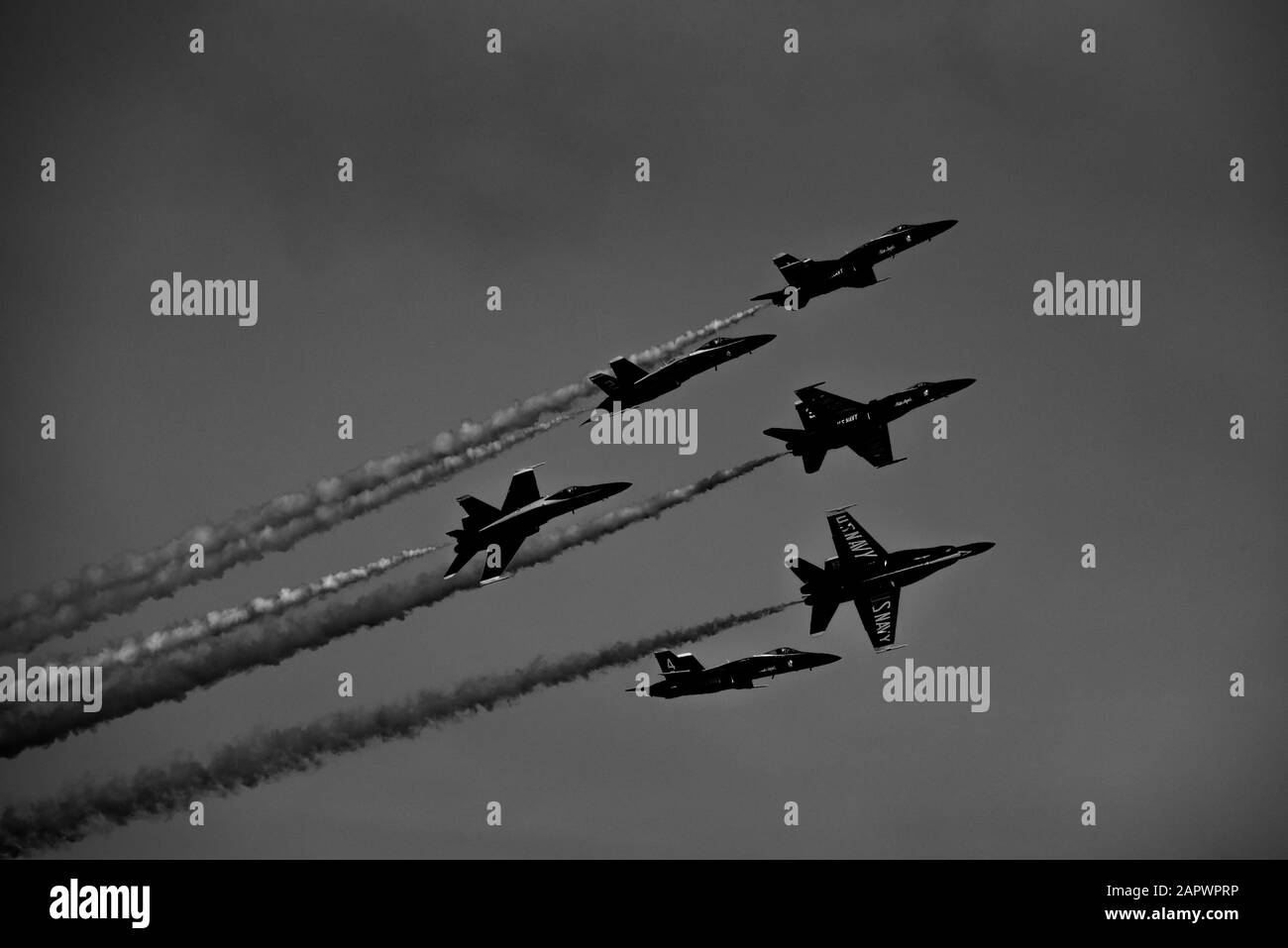 A grayscale low angle shot of Patriots Jet Team during Fleet Week Stock Photo
