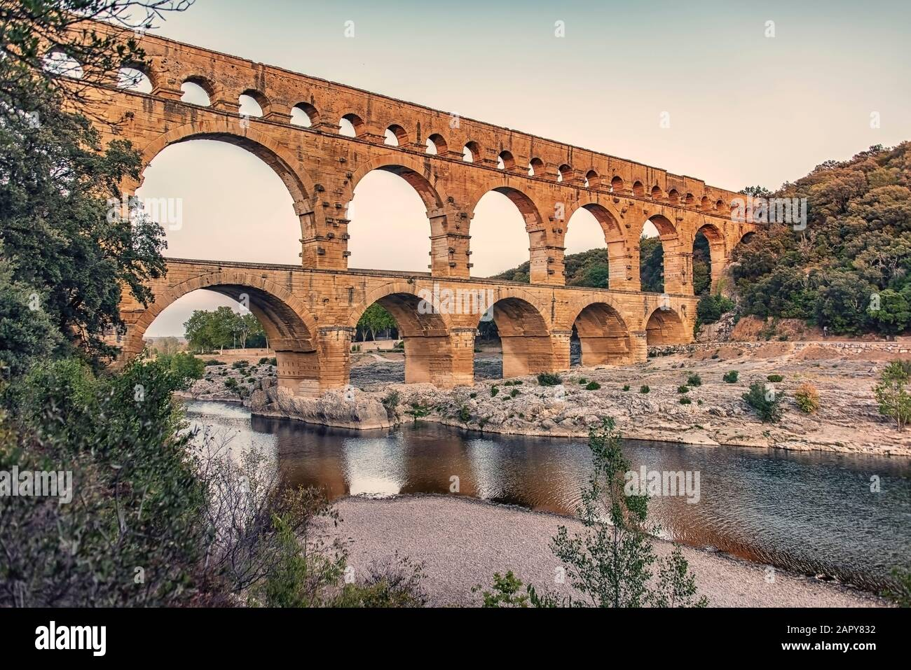 Pont du Gard in France, an UNESCO world heritage site Stock Photo