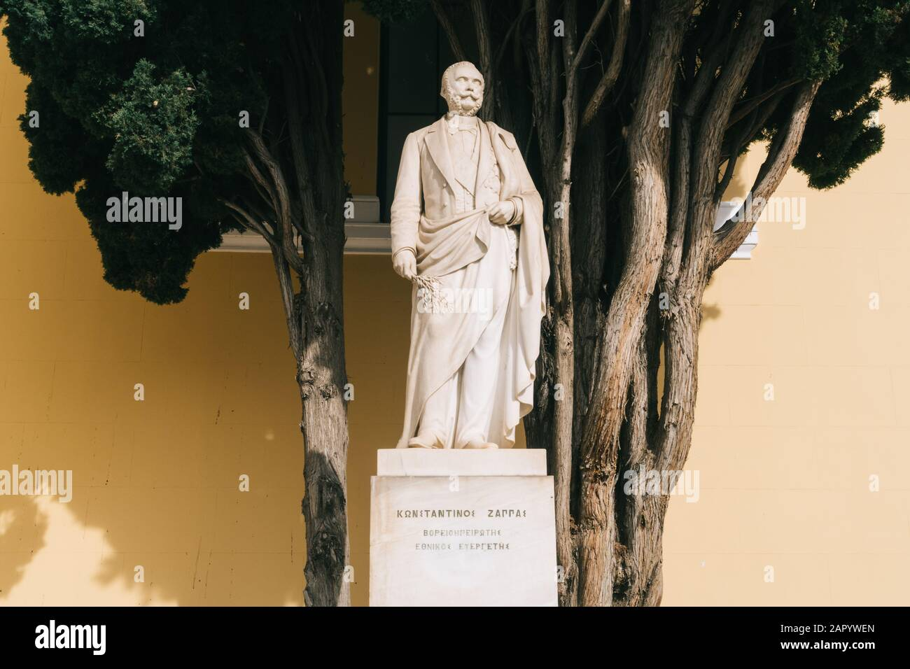 Athens, Greece - Dec 21, 2019: Statue of the Greek entrepreneur Konstantinos Zappas (1814-1892) in front of the Zappeion in Athens, Greece Stock Photo