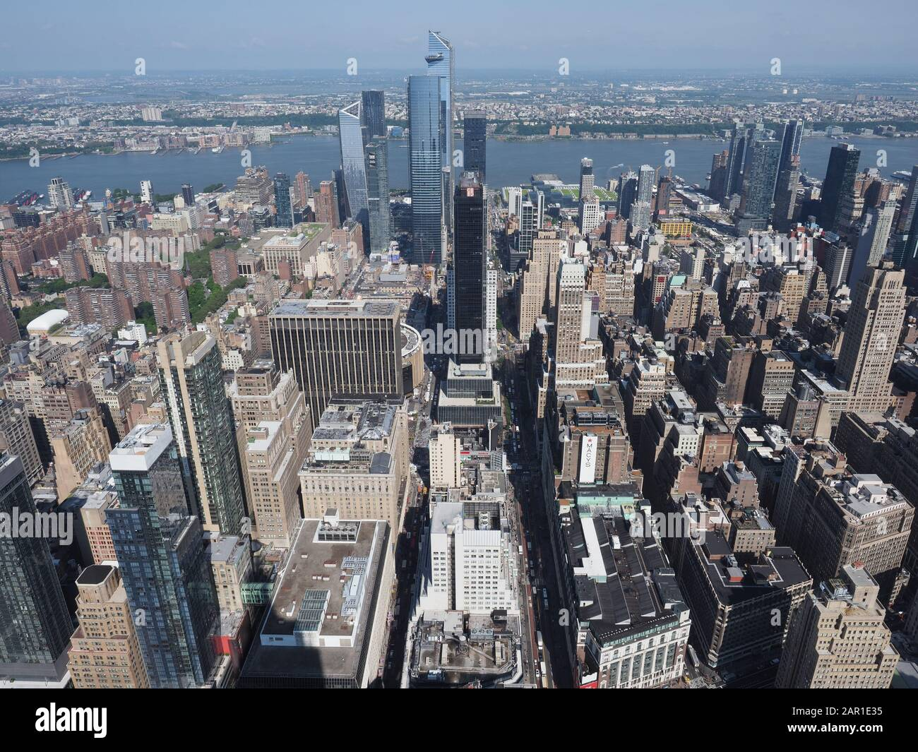 New York, USA - May 31, 2019: Aerial view of 34th street with Macy's and Hudson Yards. Stock Photo