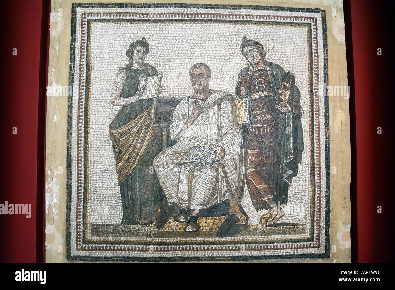 A Roman mosaic of the poet Virgil and two muses Calliope and Polymnia, found at Hadrumetum on display at the Bardo National Museum, Tunis, Tunisia. Stock Photo