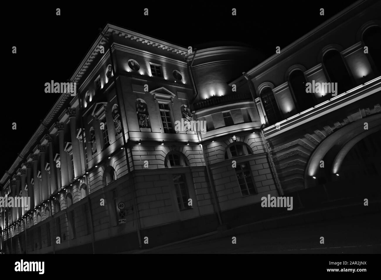 State Hermitage Theater. Black and white night scene . Illumination. St.Petersburg Russia Stock Photo