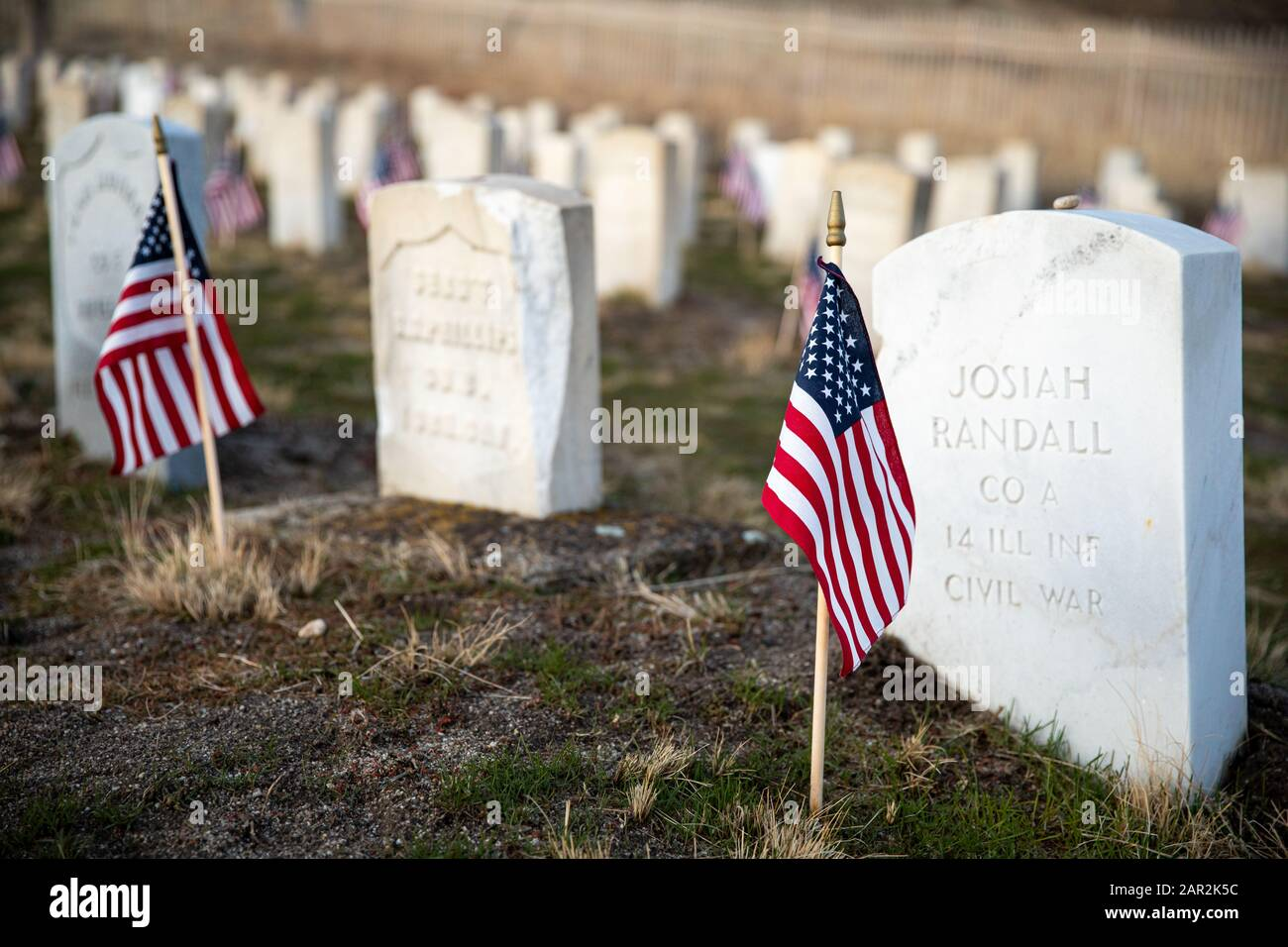 American Cemetary that holds veterans of the civil war Stock Photo