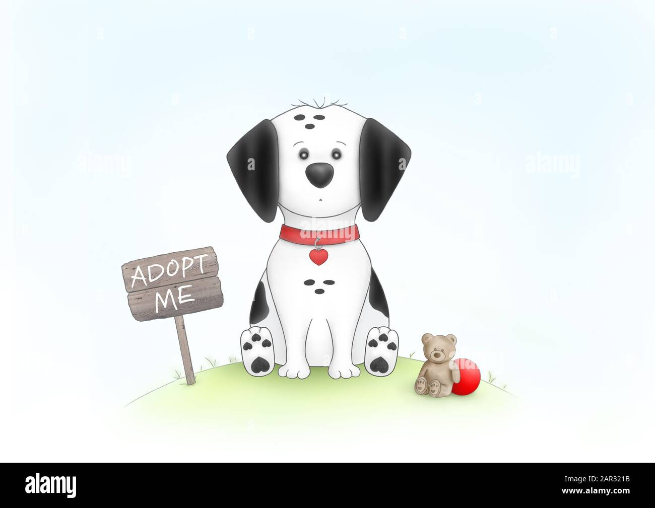 cute hand drawn illustration of sad puppy dog, sitting on grass next to wooden sign with text adopt me, and teddybear, red ball and collar, on white b Stock Photo