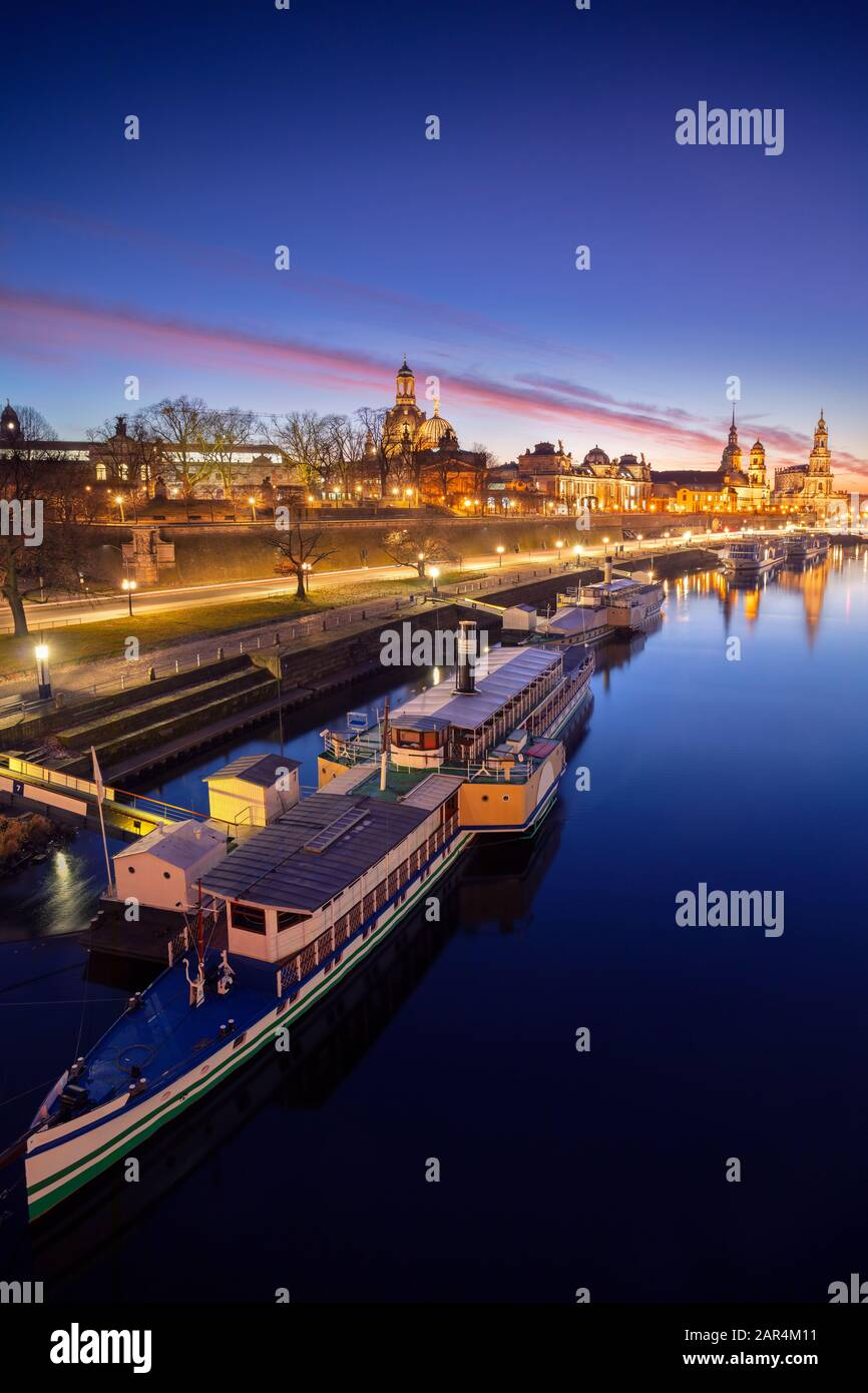 Dresden, Germany. Image of Dresden, Germany with the Dresden Frauenkirche and Dresden Cathedral during beautiful sunset. Stock Photo