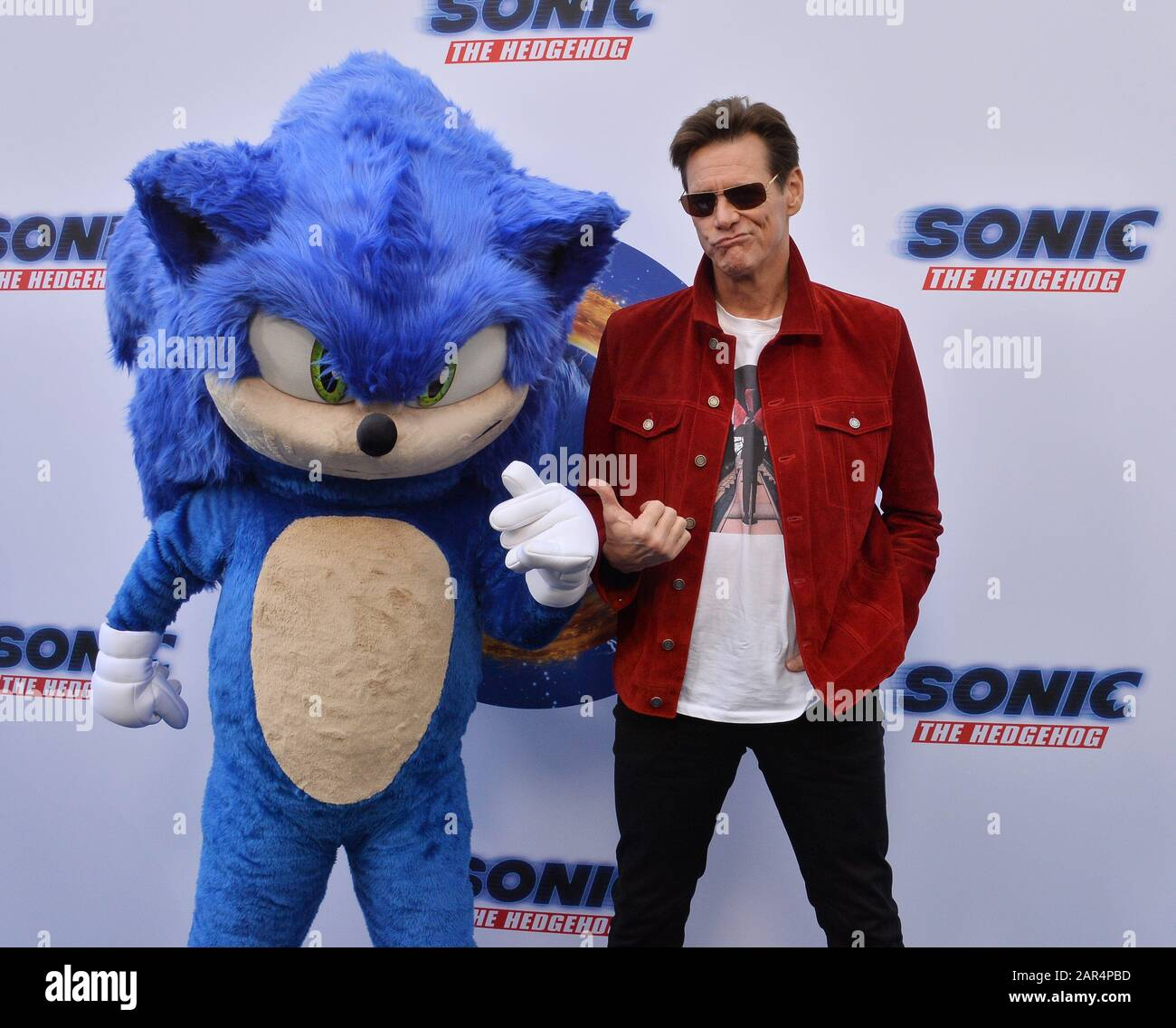 Los Angeles Usa 25th Jan 2020 Cast Member Jim Carrey Attends The Sonic The Hedgehog Family Day Event On The Paramount Pictures Lot In Los Angeles On Saturday January 25 2020 Storyline