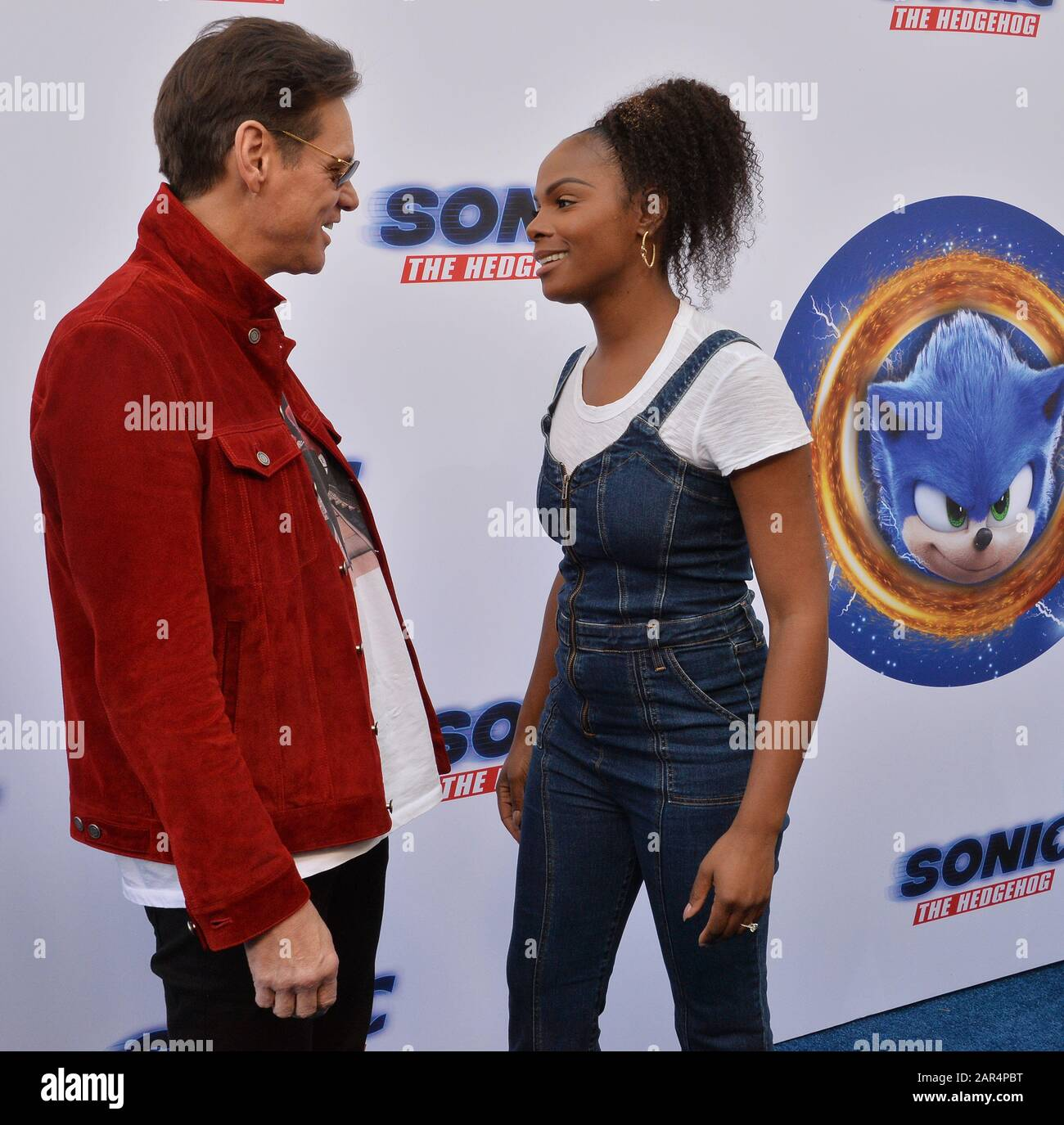 Los Angeles Usa 25th Jan 2020 Cast Members Tika Sumpter And Jim Carrey Attend The Sonic The Hedgehog Family Day Event On The Paramount Pictures Lot In Los Angeles On Saturday January