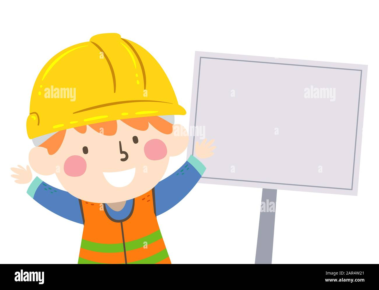 Illustration Of A Kid Boy Construction Engineer Wearing Yellow Hard Hat And Reflective Safety Vest With A Blank Sign Board Stock Photo Alamy