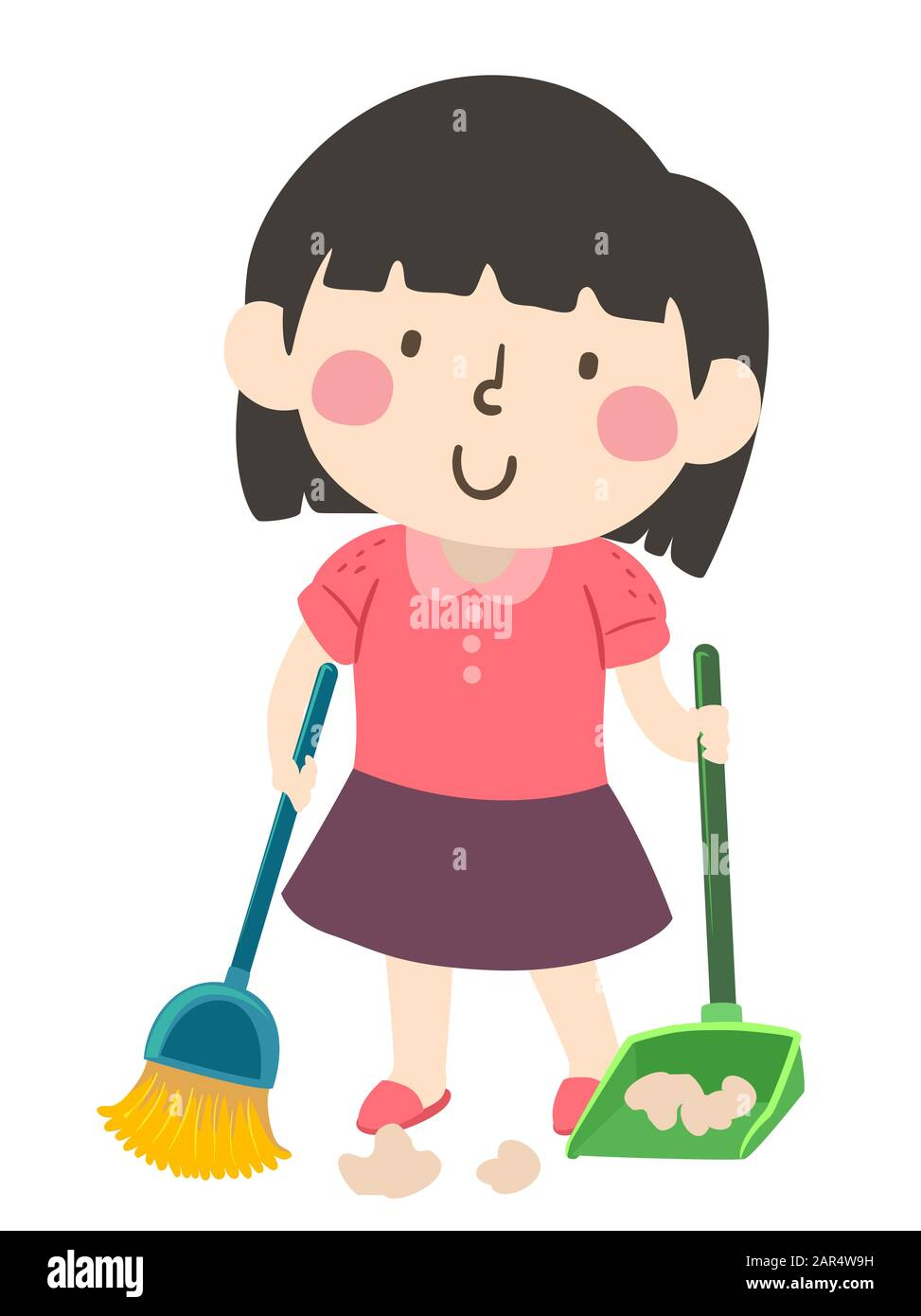 illustration of a kid girl holding broom and dust pan sweeping floor as part of her household chores stock photo alamy https www alamy com illustration of a kid girl holding broom and dust pan sweeping floor as part of her household chores image341241757 html